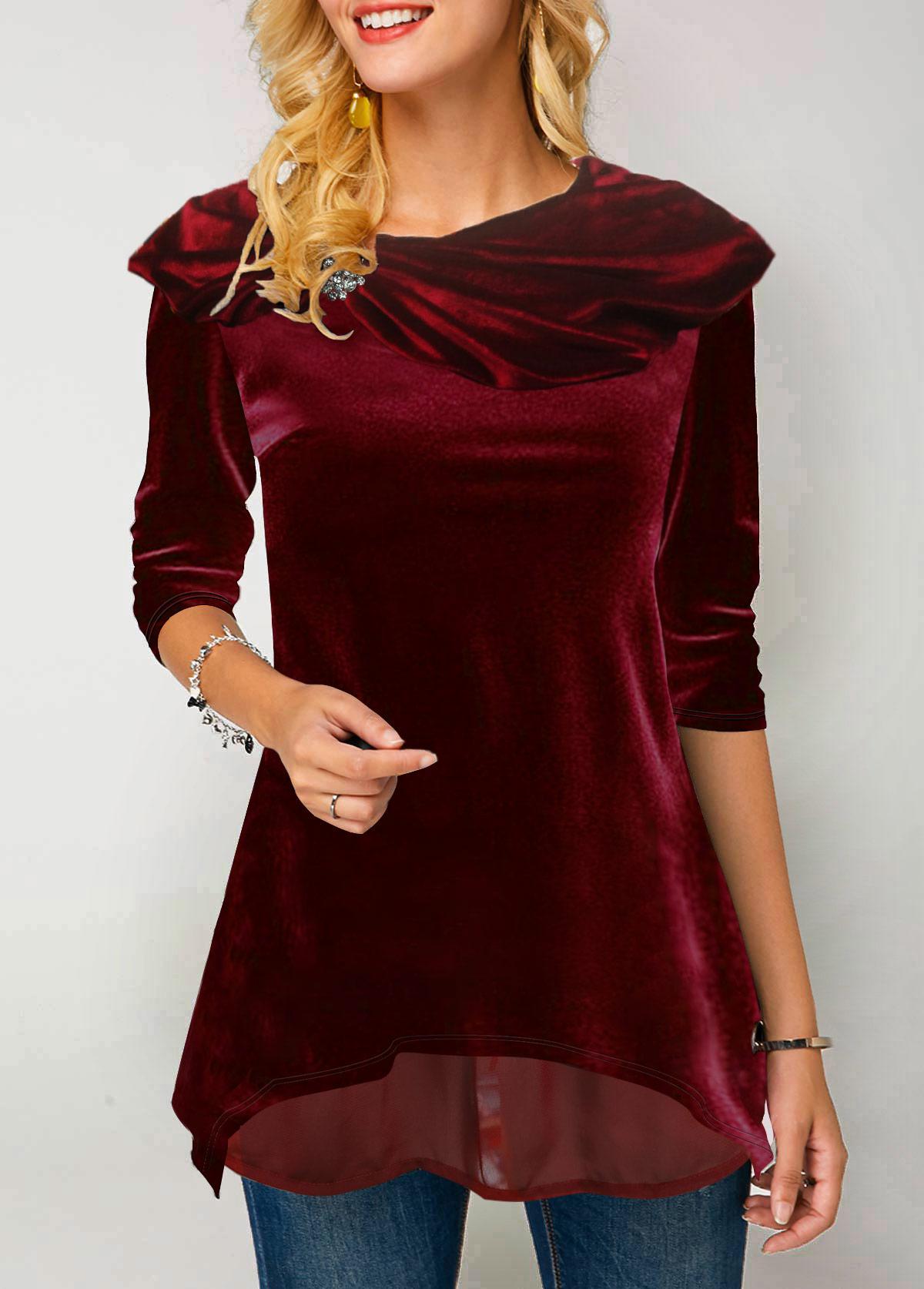 ROTITA Layered Hem Rhinestone Embellished Wine Red T Shirt