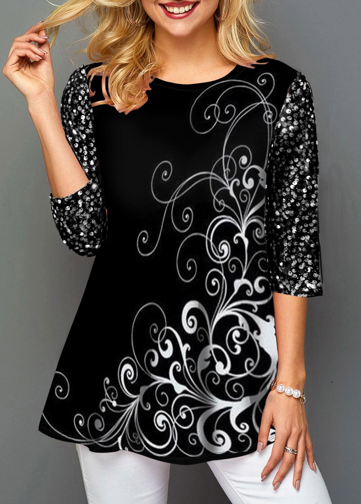 Printed Round Neck Sequin Detail T Shirt