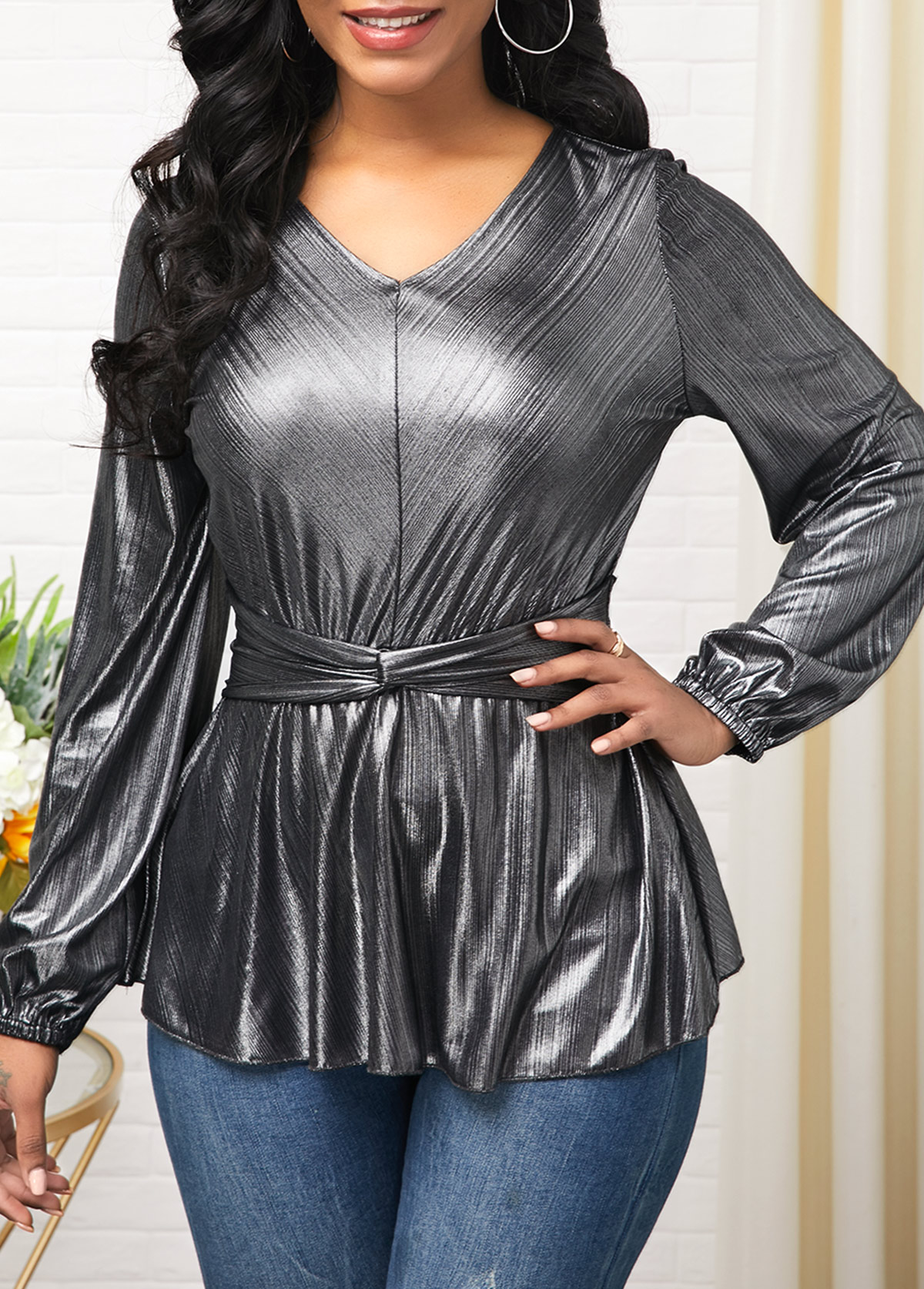 ROTITA Long Sleeve Side Zipper V Neck Sparkle Blouse