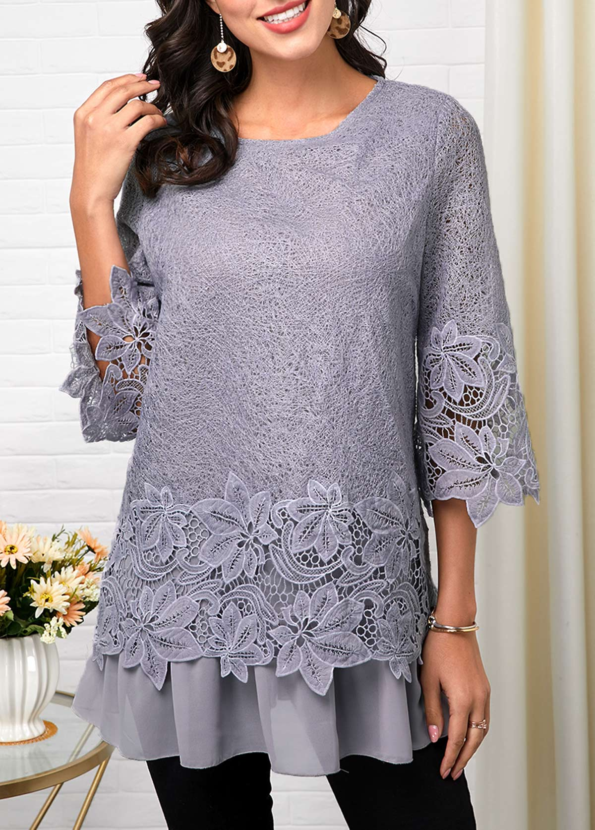 Light Grey Lace Three Quarter Sleeve T Shirt