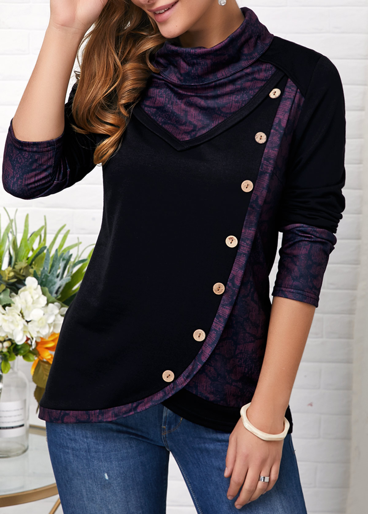 Asymmetric Hem Long Sleeve Button Detail Sweatshirt