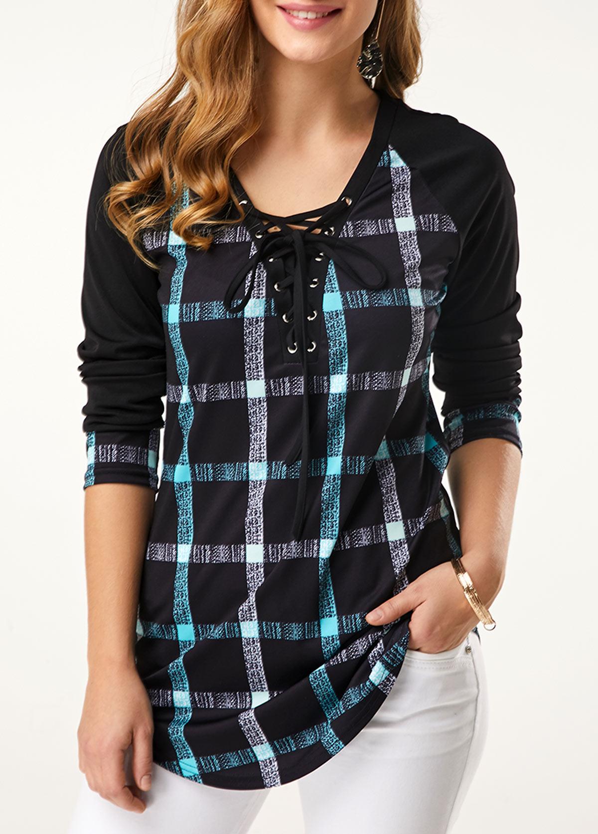 ROTITA Lace Up Long Sleeve Plaid Print T Shirt
