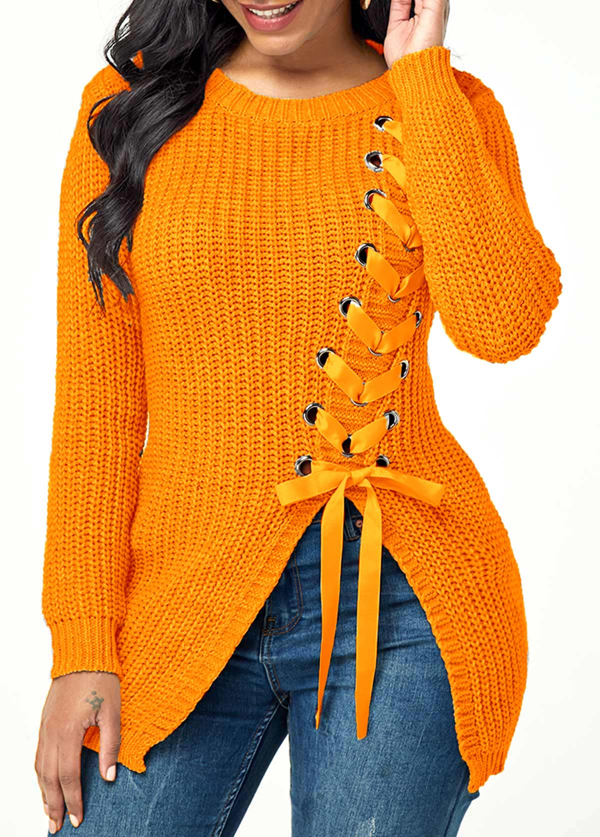 Lace Up Long Sleeve Split Front Sweater