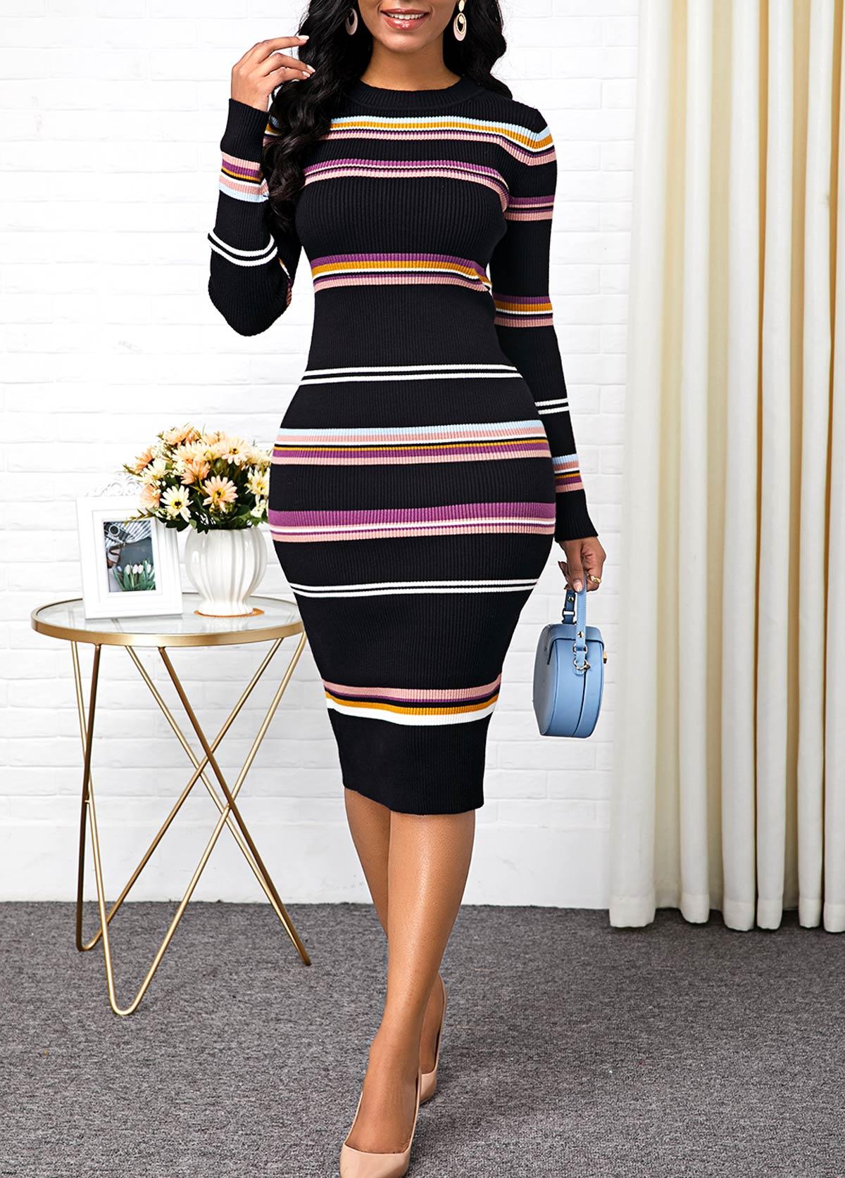 Round Neck Striped Long Sleeve Sweater Dress
