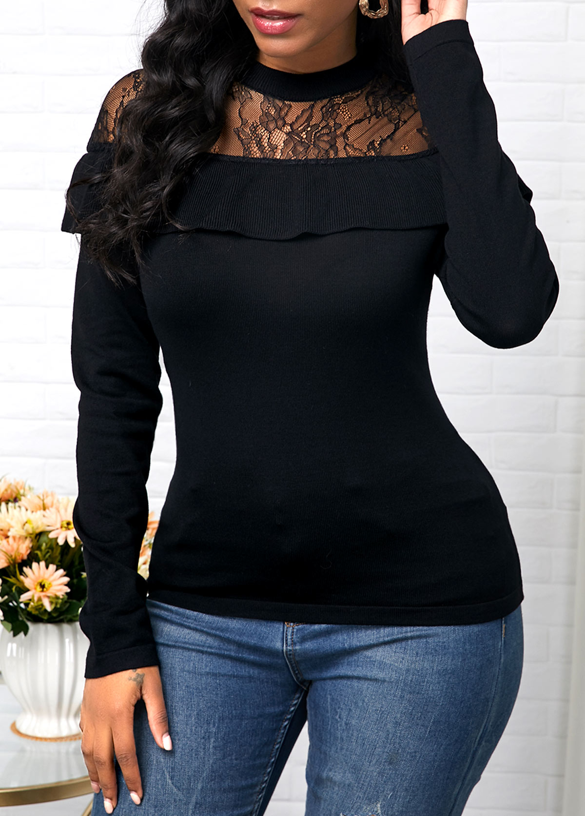 ROTITA Lace Patchwork Black Ruffle Decorated Sweater