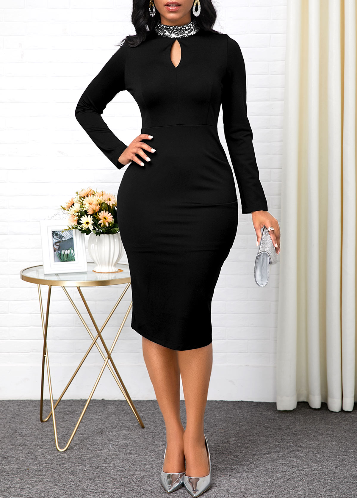 ROTITA Keyhole Neckline Long Sleeve Black Dress