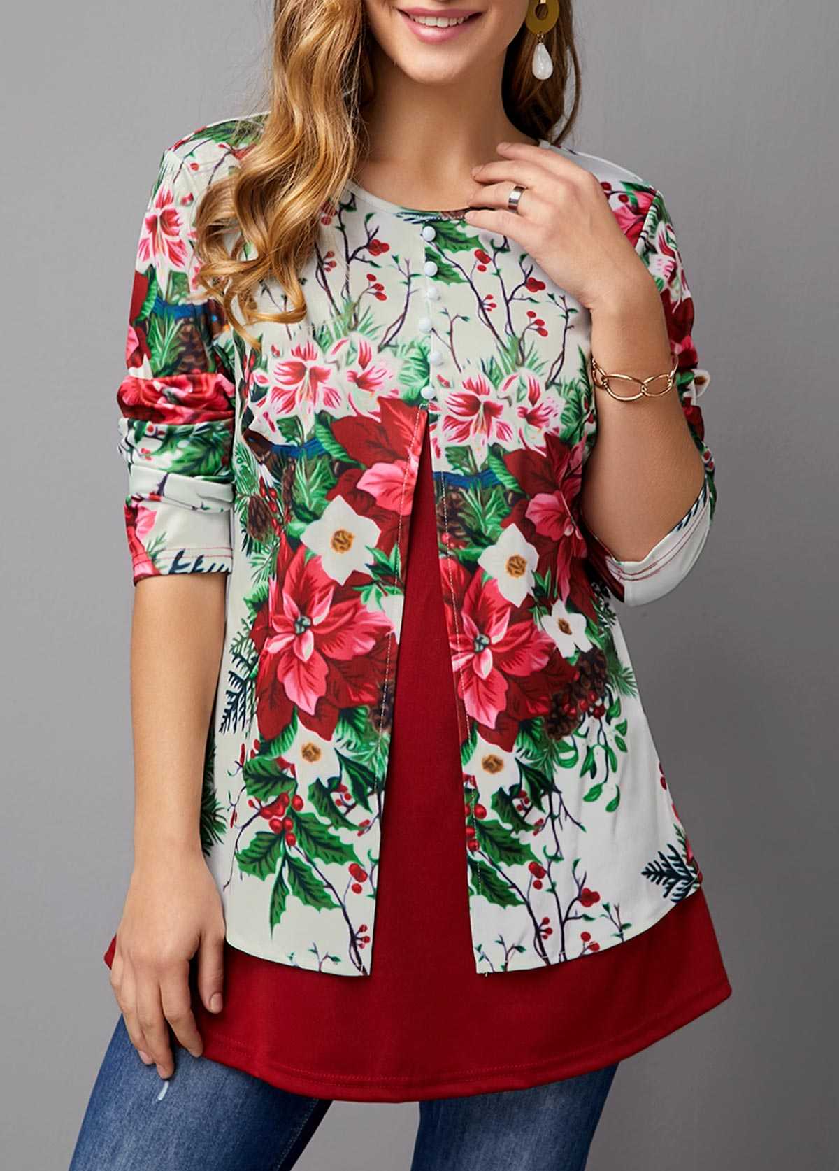 ROTITA Faux Two Piece Flower Print T Shirt