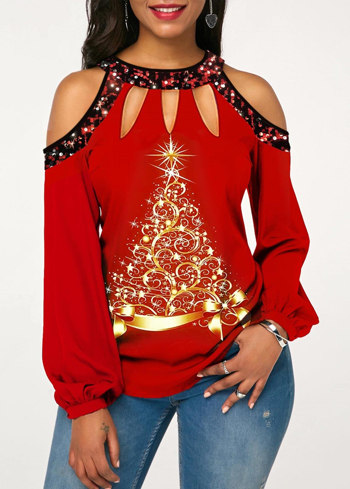 ROTITA Sequin Embellished Christmas Tree Print Cold Shoulder Blouse