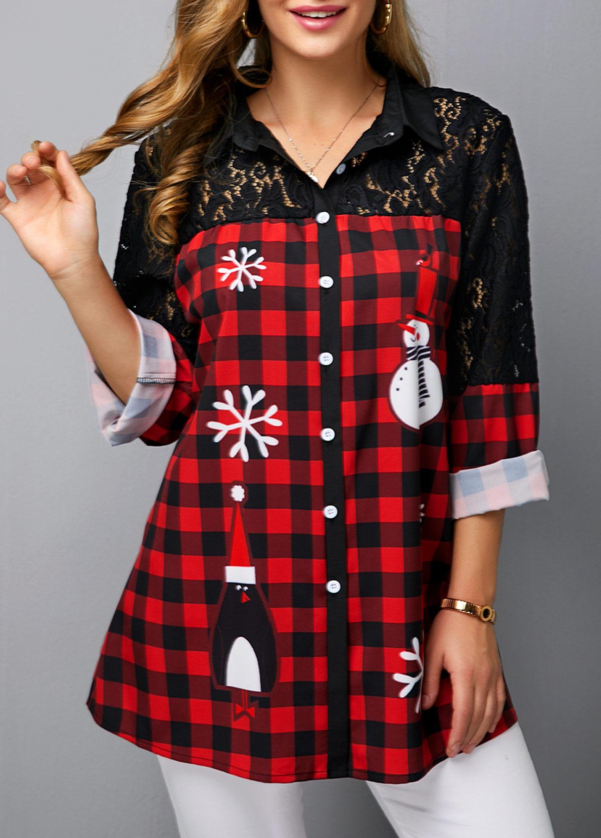 Turndown Collar Lace Panel Christmas Snowman Print Shirt