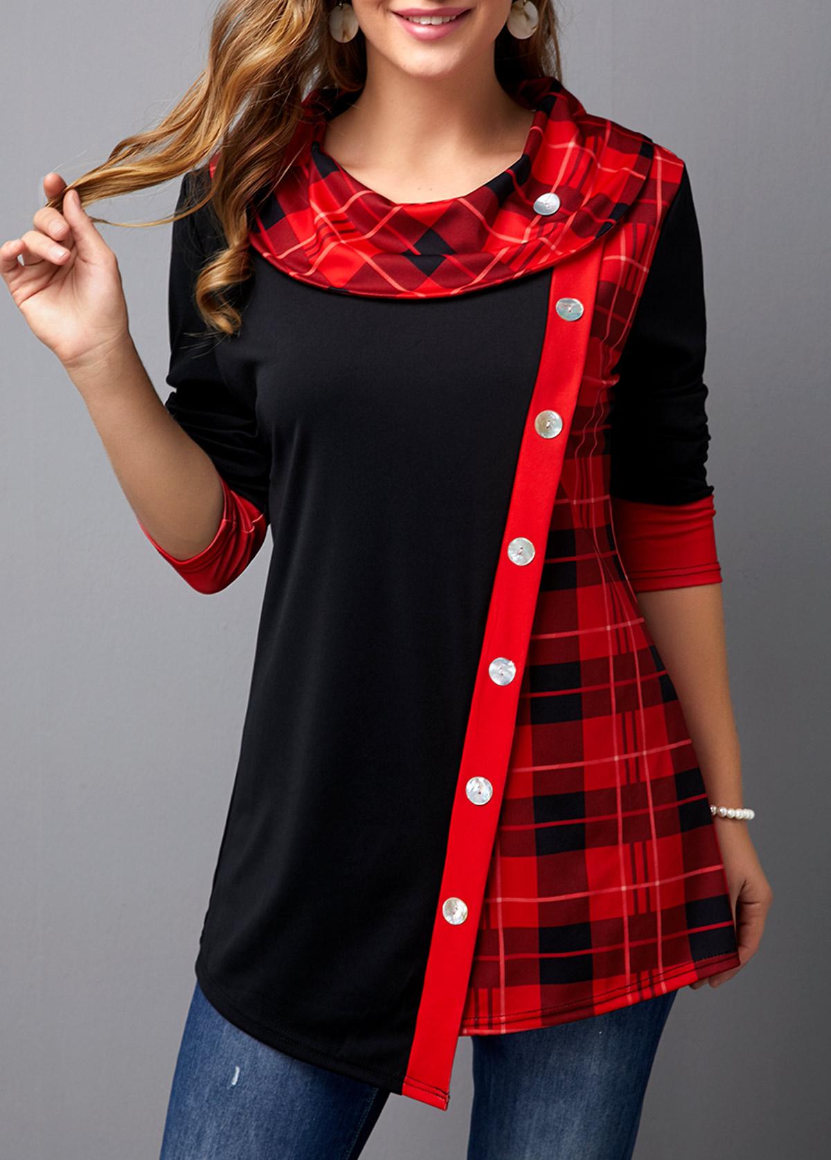 Plaid Print Asymmetric Hem Button Front T Shirt