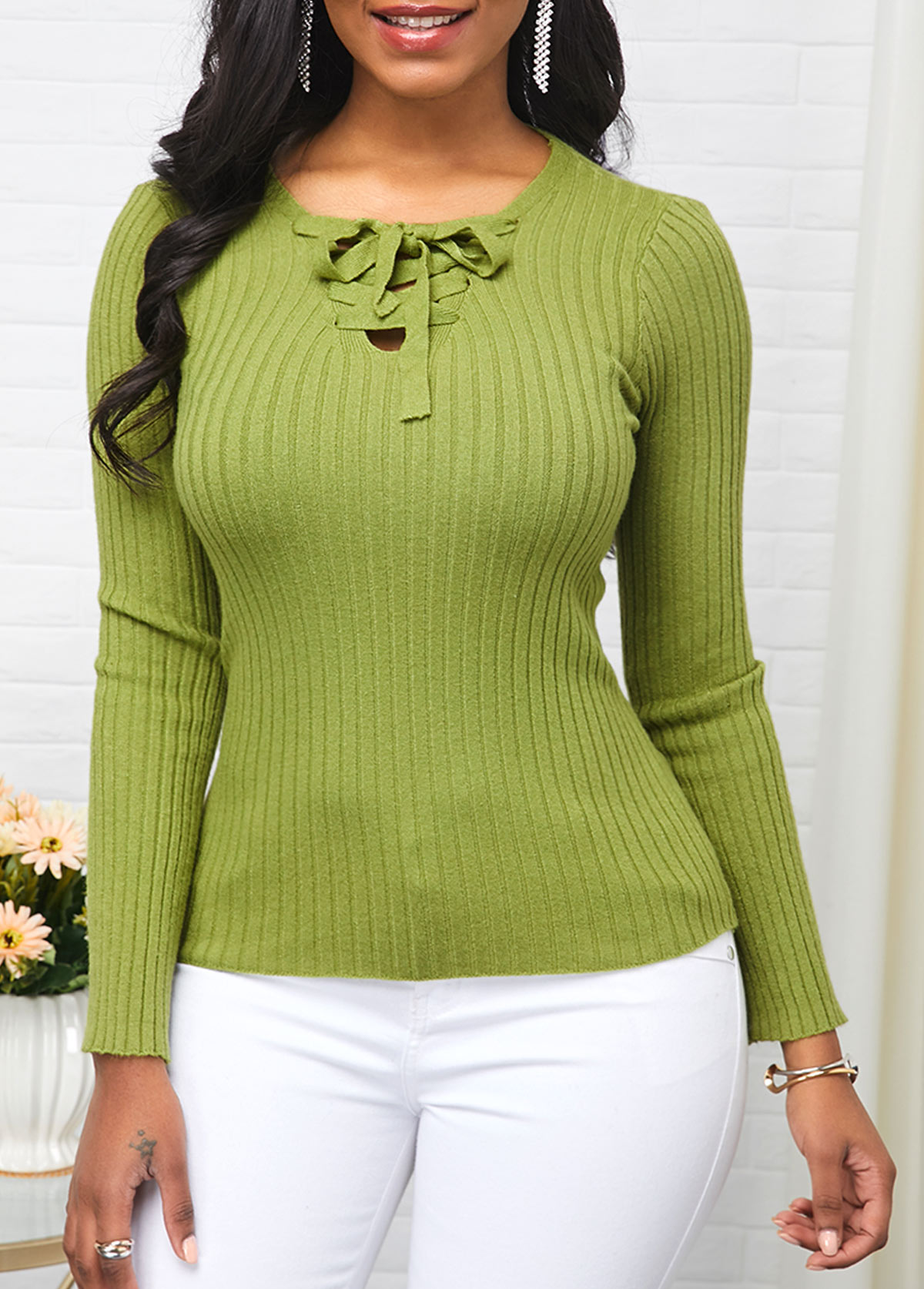 Tie Front Long Sleeve Light Green Sweater