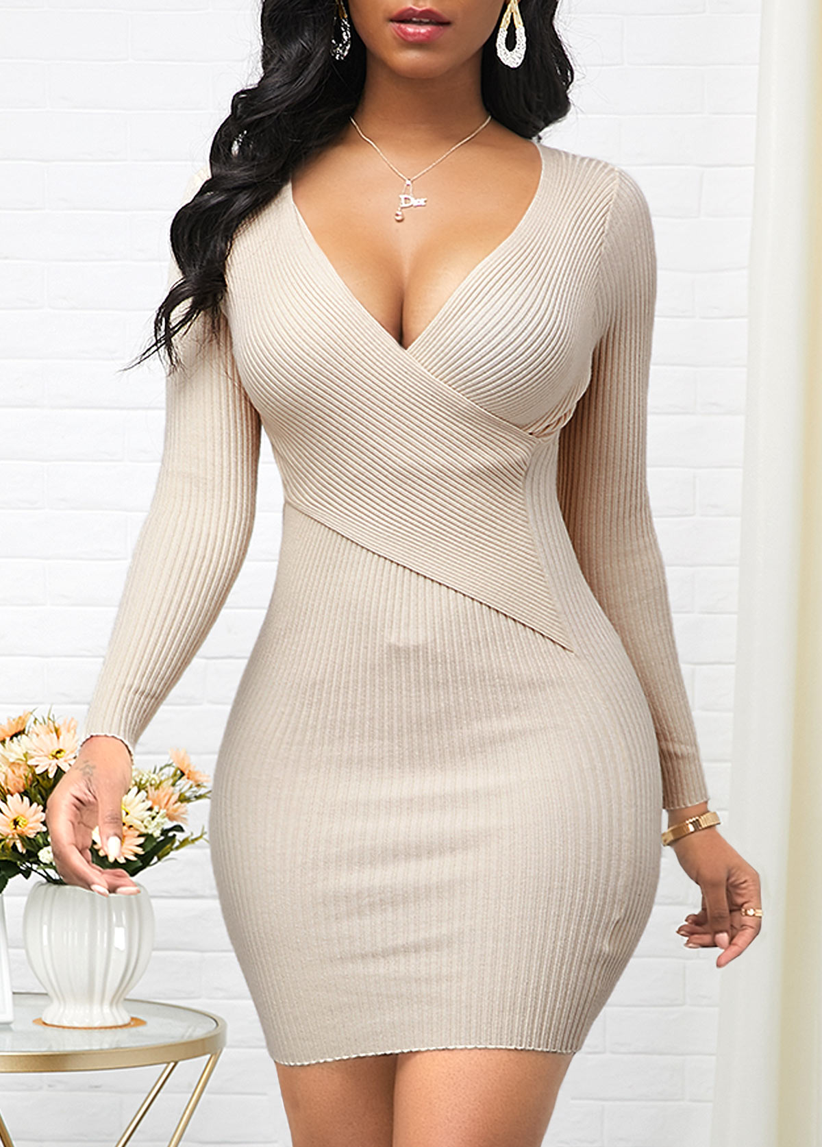 Long Sleeve Cross Chest Beige Sweater Dress