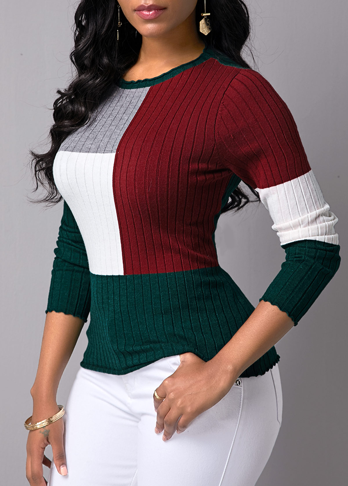 ROTITA Long Sleeve Color Block Round Neck Sweater