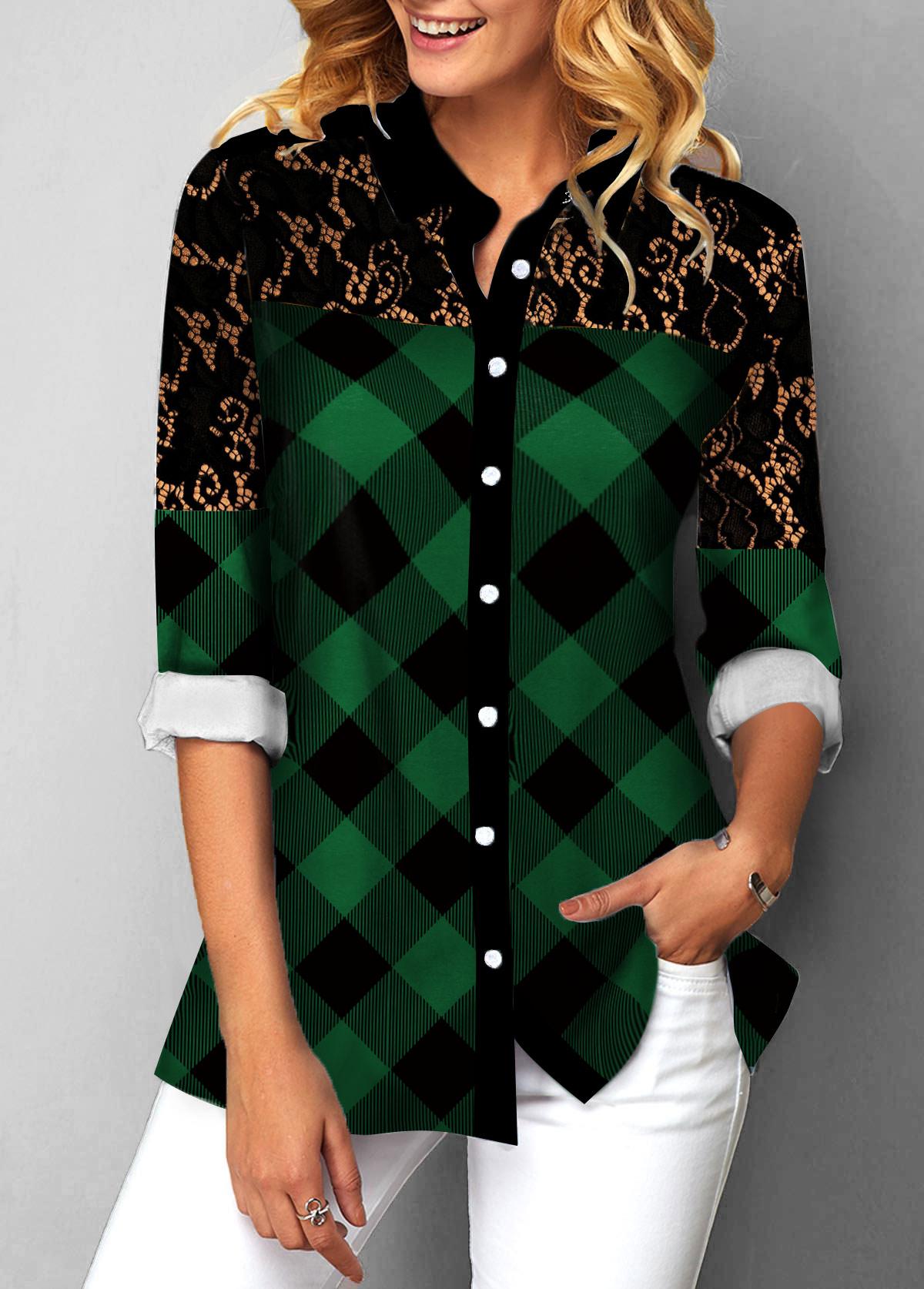 Button Up Lace Patchwork Plaid Print Blouse