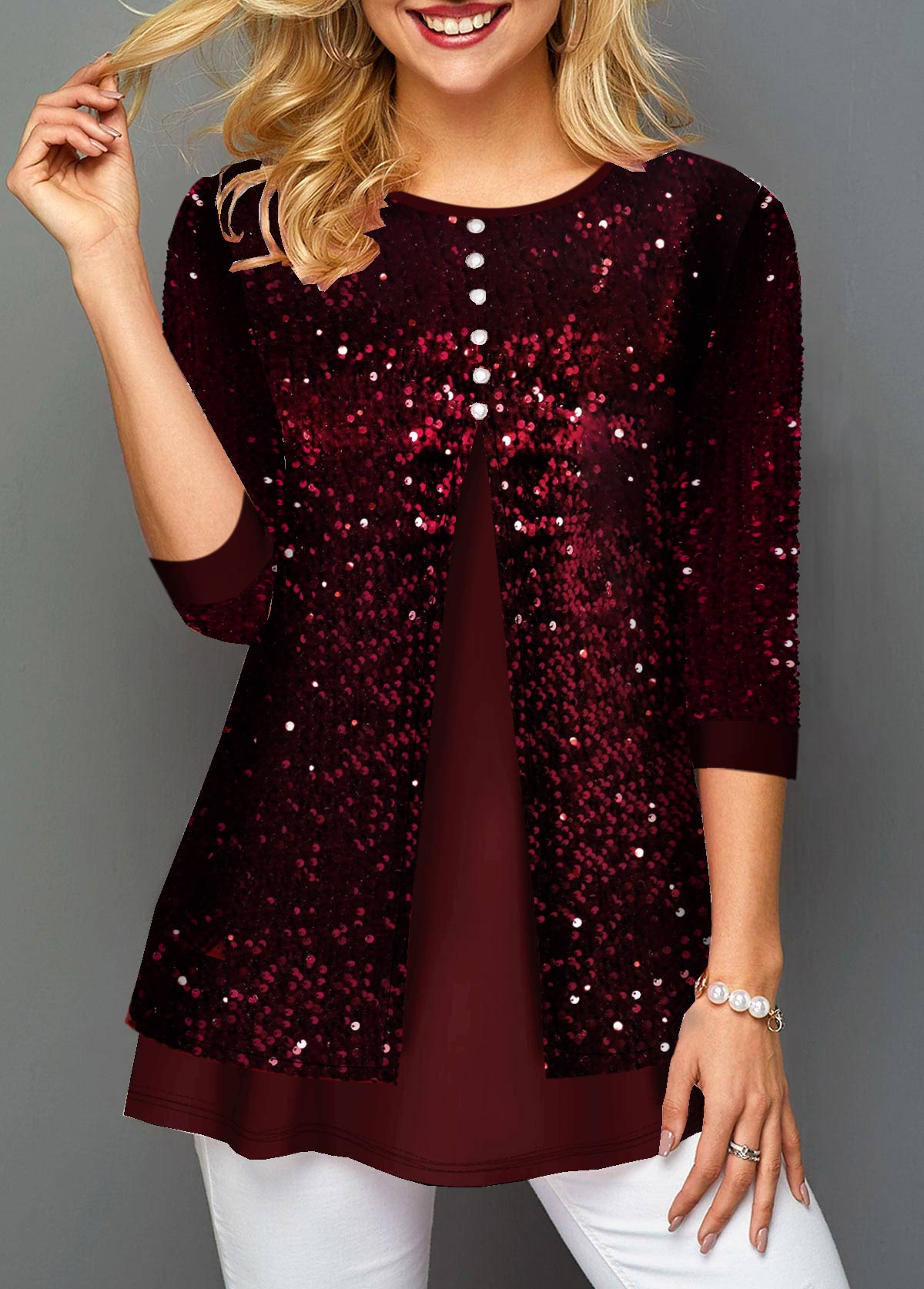 Sequin Panel Wine Red Button Detail T Shirt