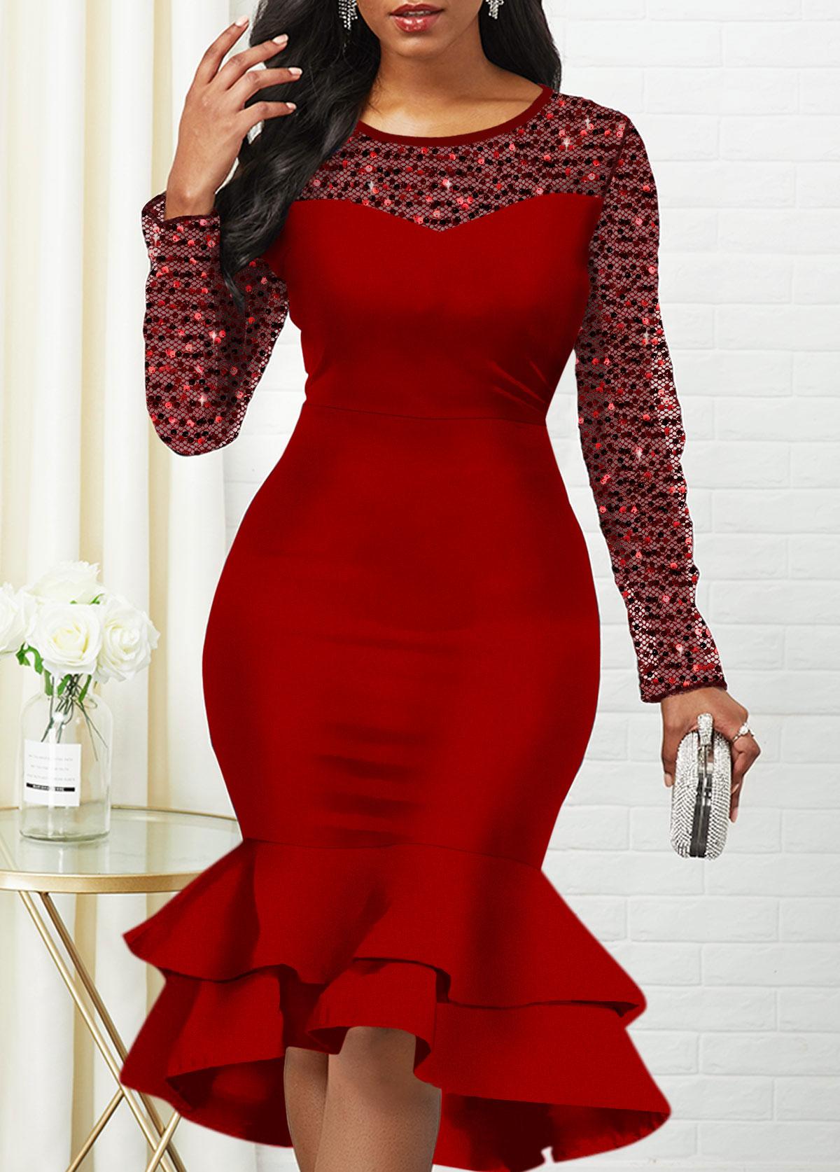 Sequin Detail Long Sleeve Mesh Panel Mermaid Dress