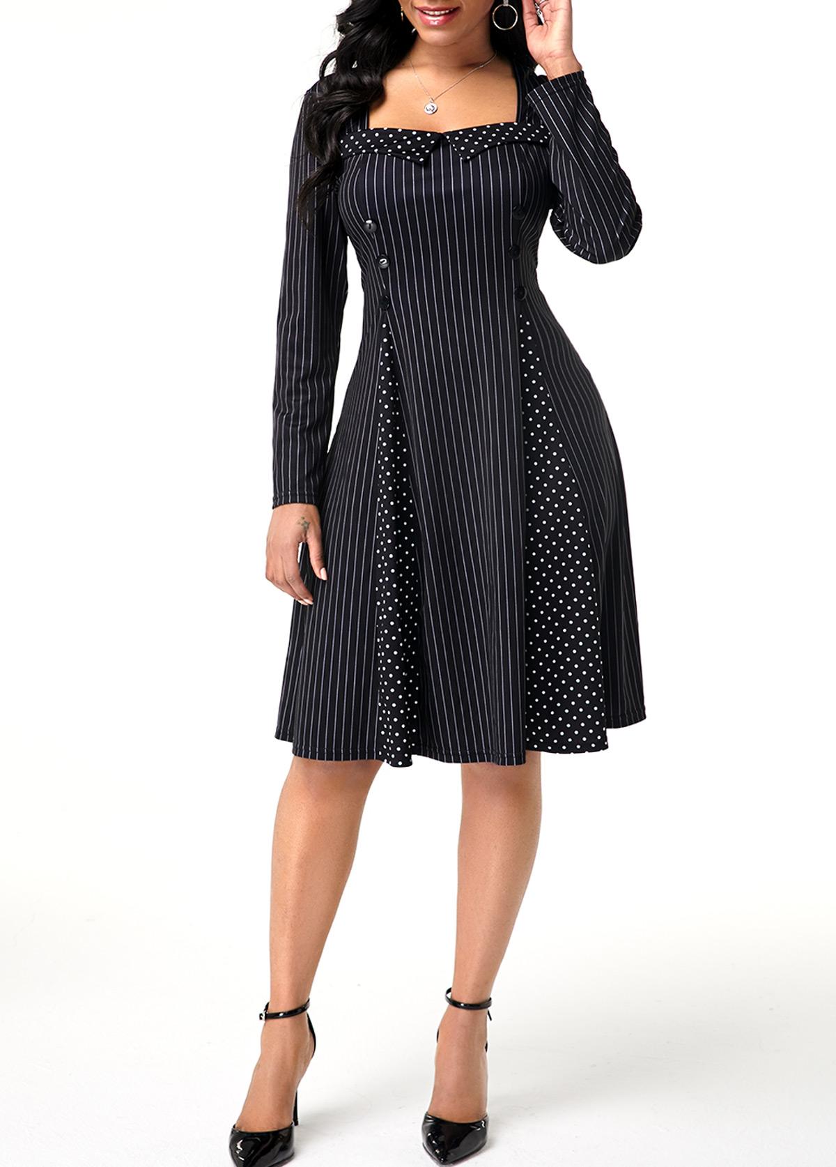 Polka Dot Print Vertical Stripe Long Sleeve Dress