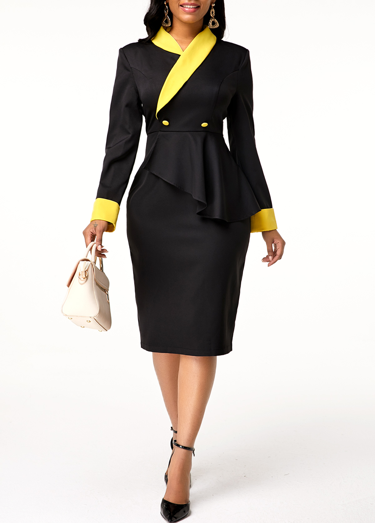 Zipper Closure Long Sleeve Button Detail Dress