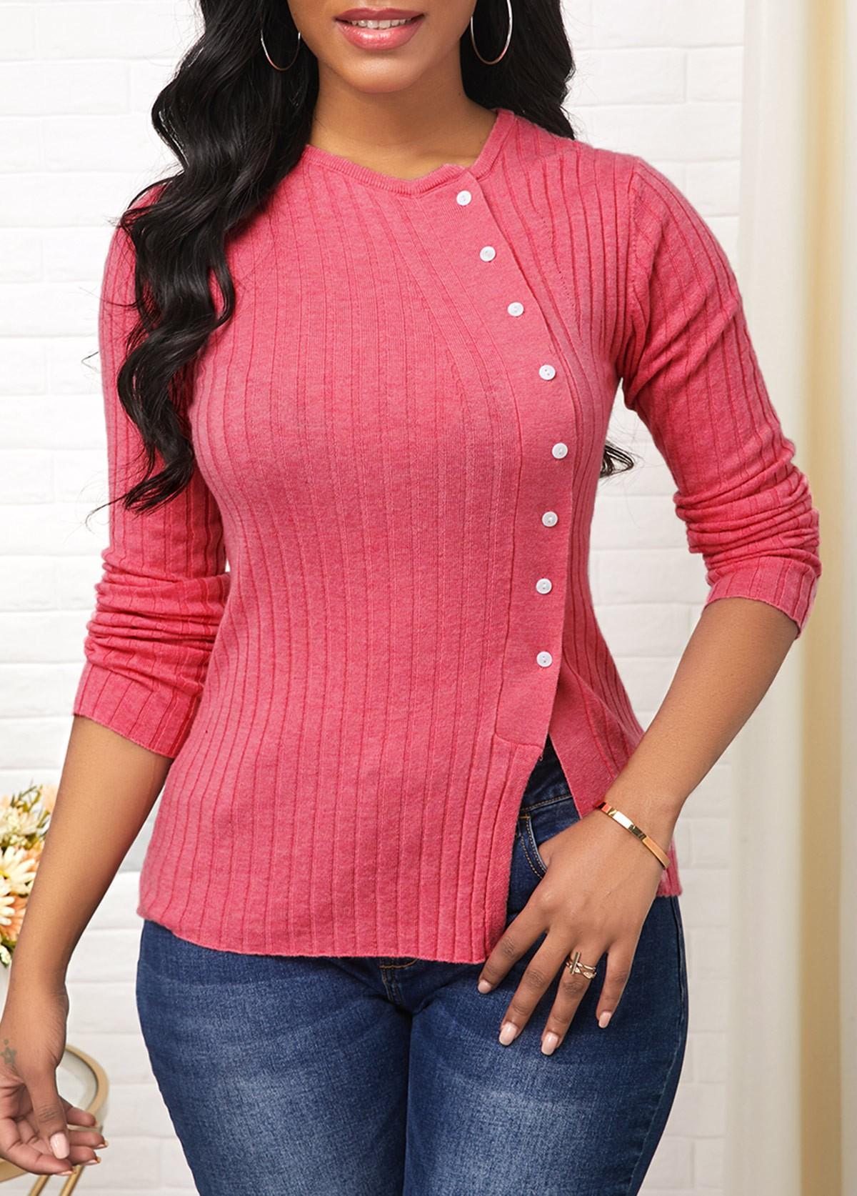 ROTITA Side Slit Button Detail Long Sleeve Sweater
