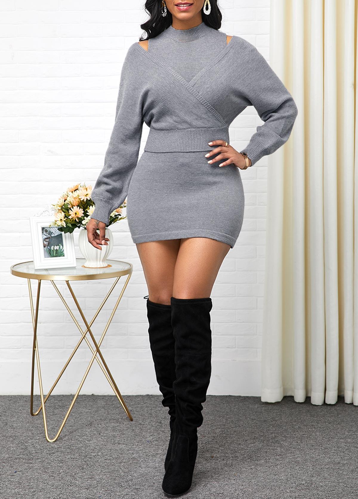 ROTITA Sleeveless Light Grey Sweater Dress and Long Sleeve Sweater