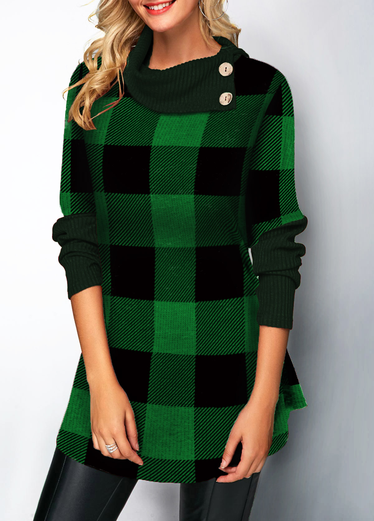 Plaid Pattern Long Sleeve Button Detail Sweater