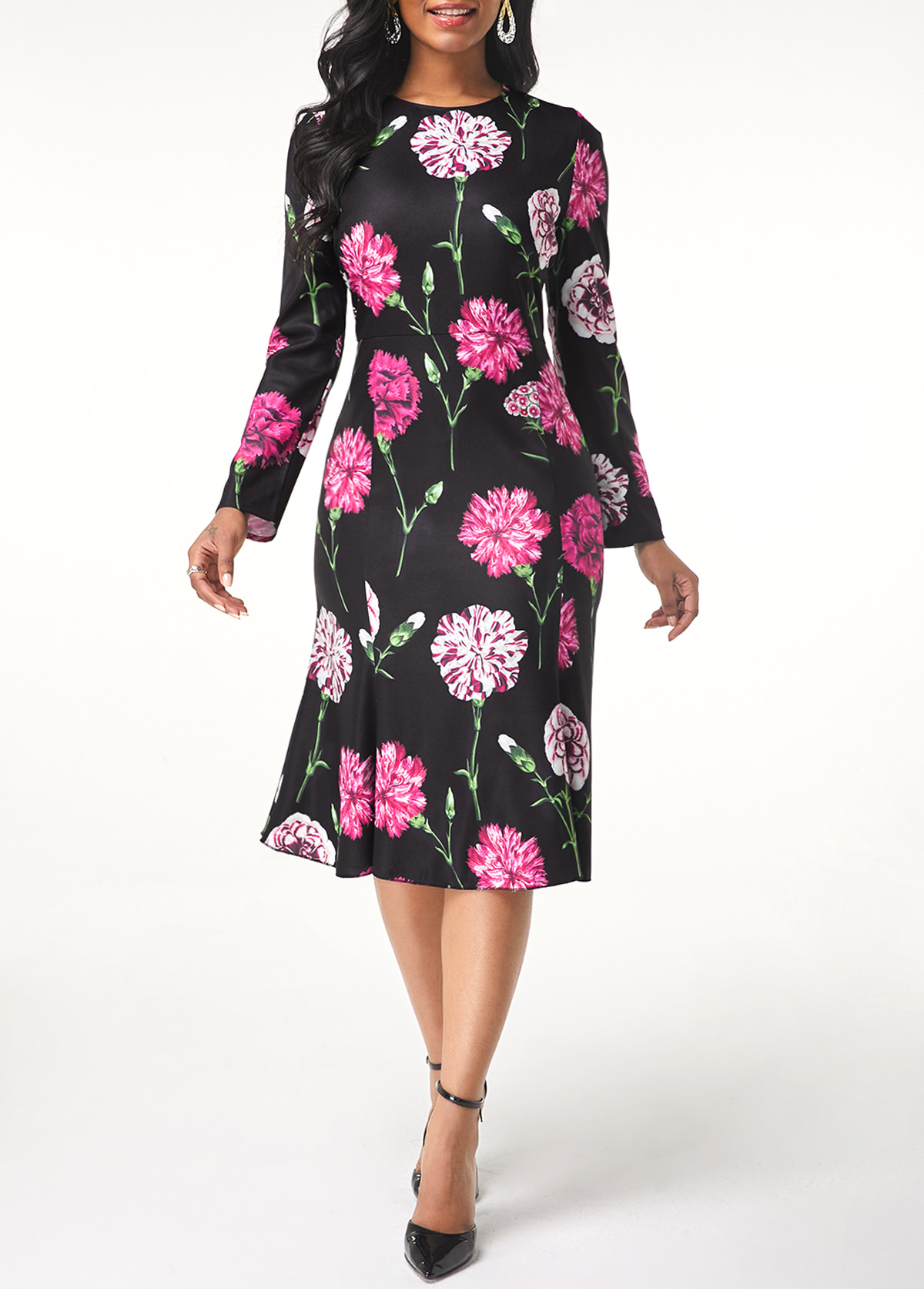 Round Neck Flower Print Long Sleeve Dress