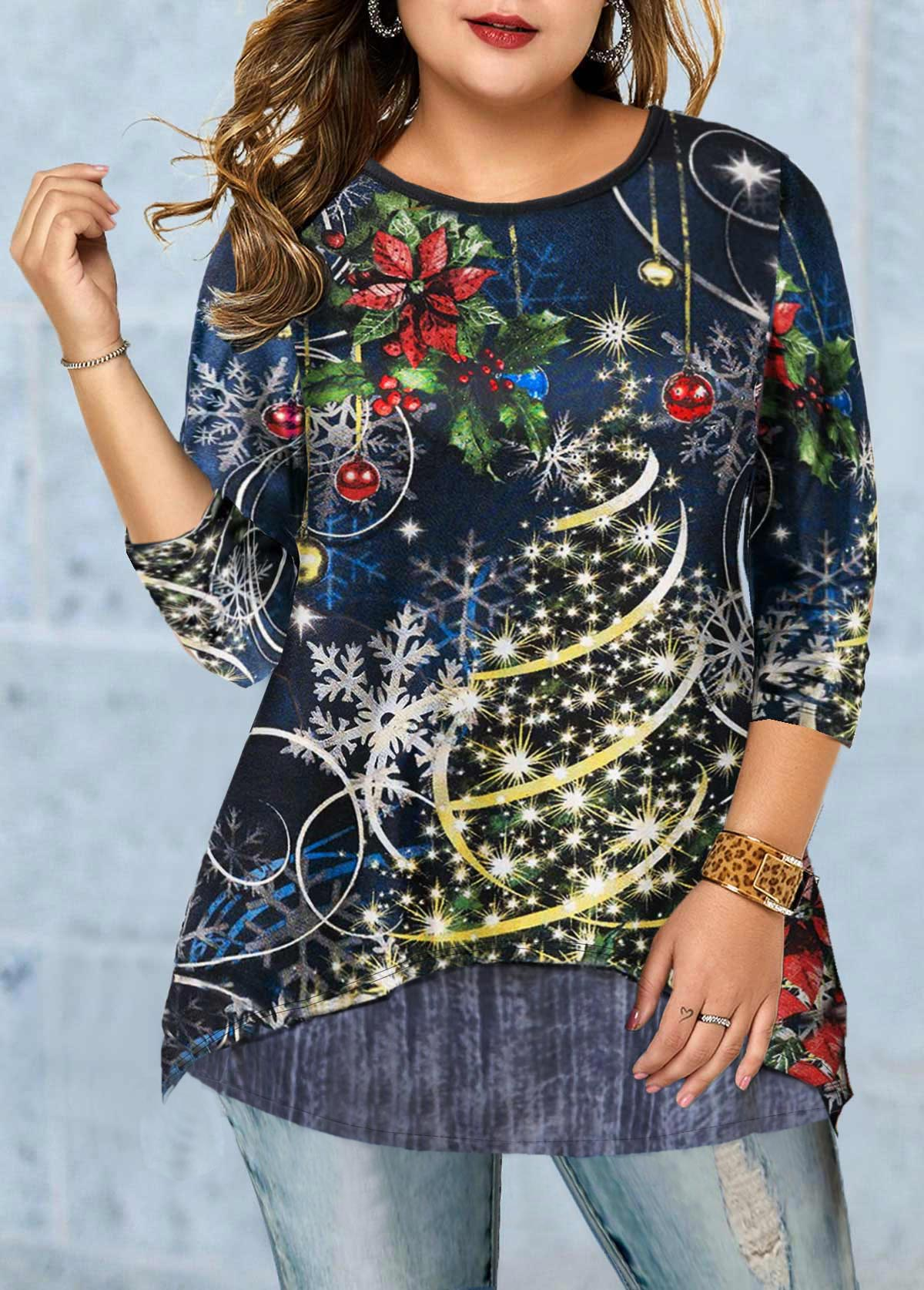 Christmas Print Long Sleeve Plus Size T Shirt