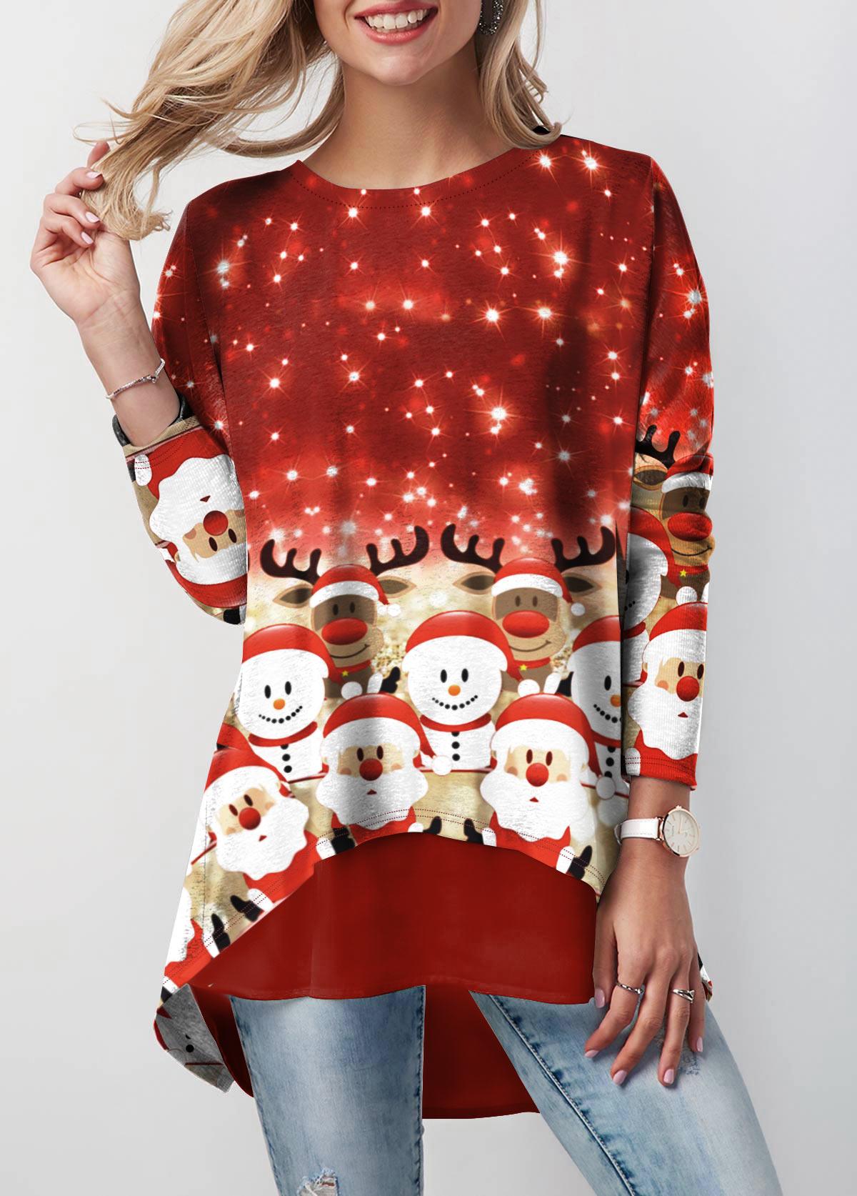 Christmas Print Layered Hem Long Sleeve Sweatshirt