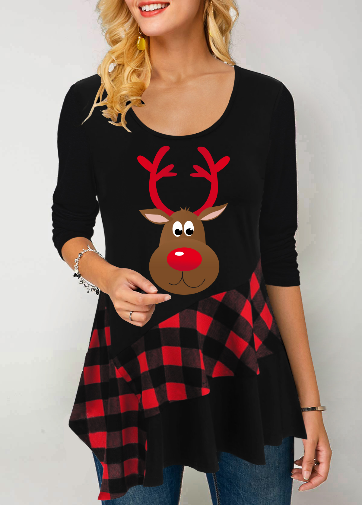Christmas Elk Print Asymmetric Hem Black T Shirt