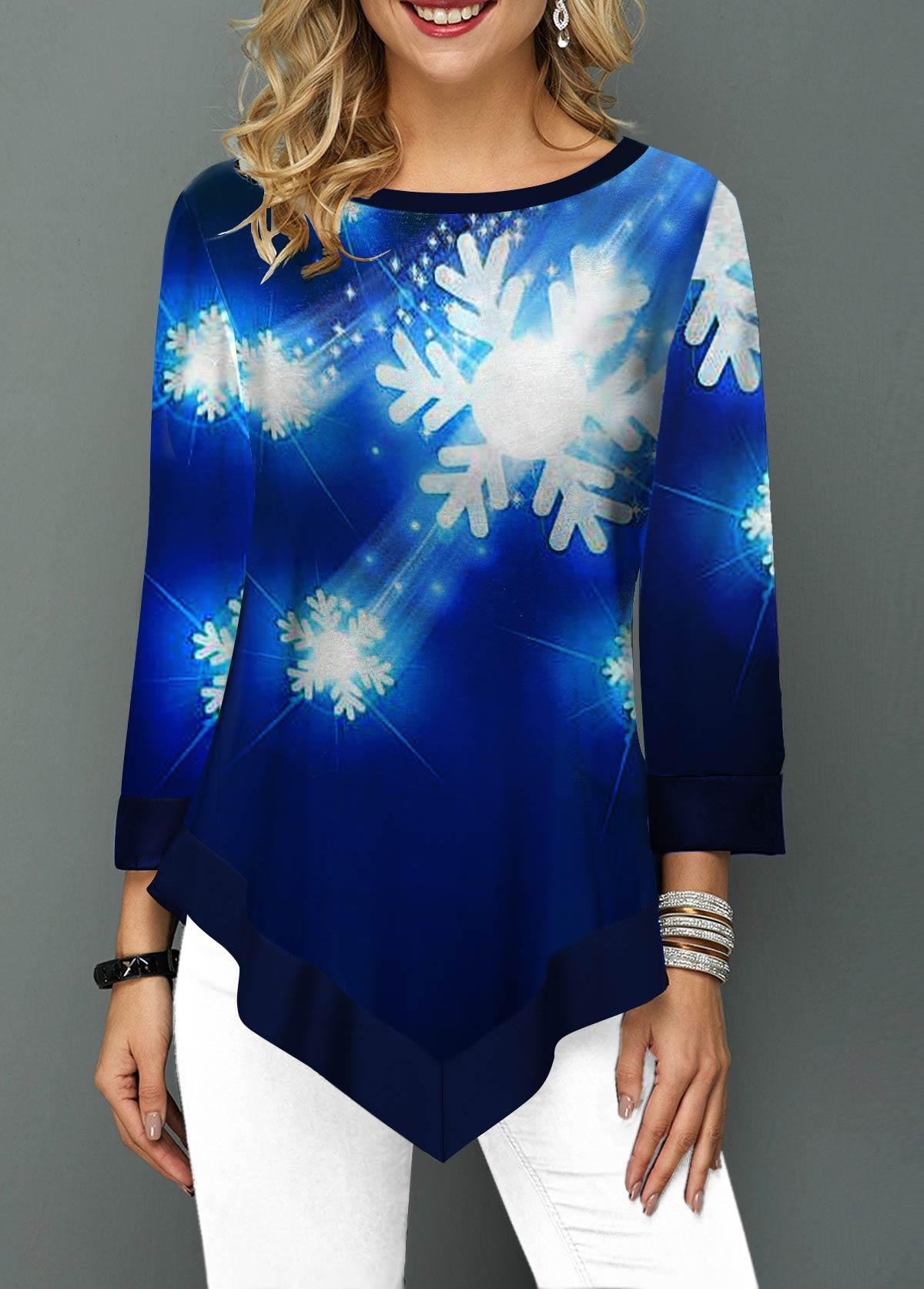 ROTITA Asymmetric Hem Snow Print Round Neck T Shirt