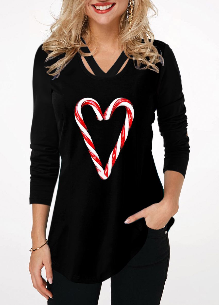Candy Cane Print Long Sleeve Curved Hem T Shirt