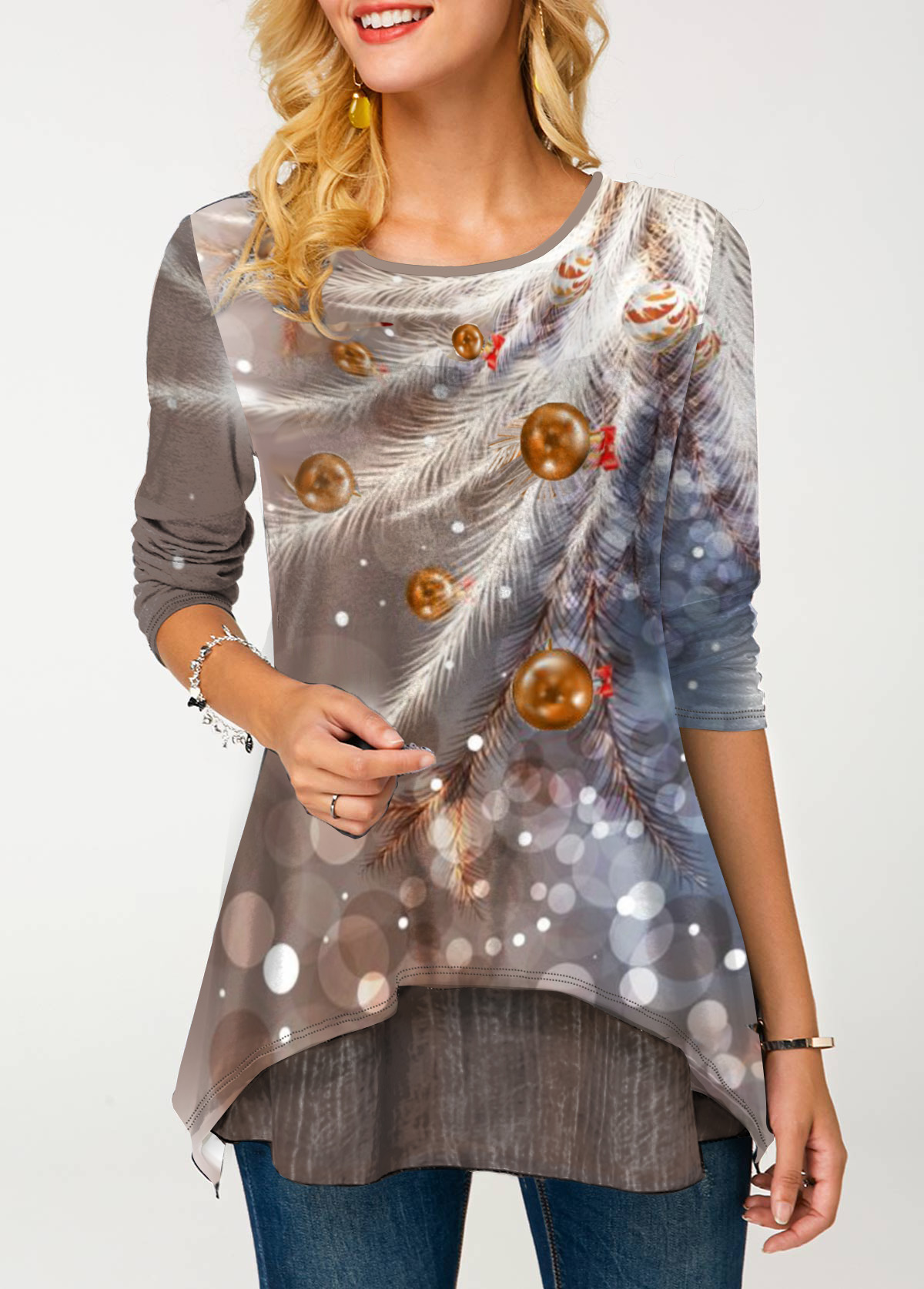 Feather Print Long Sleeve Round Neck T Shirt