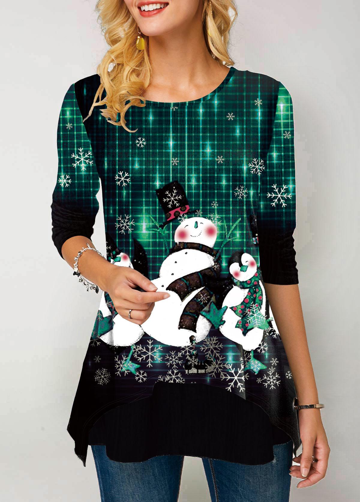 ROTITA Christmas Print Layered Hem Long Sleeve T Shirt