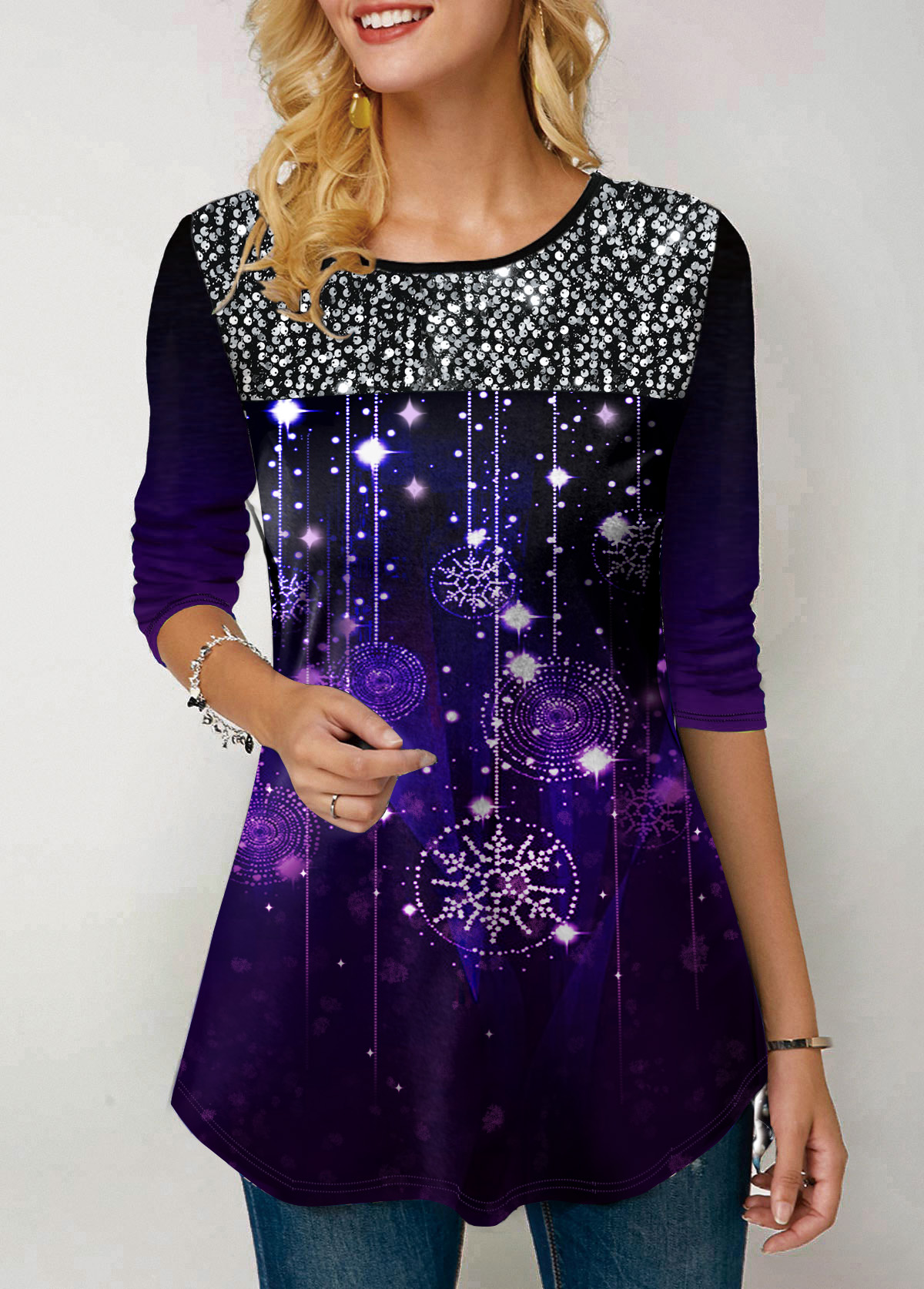 Sequin Embellished Snow Print Long Sleeve T Shirt