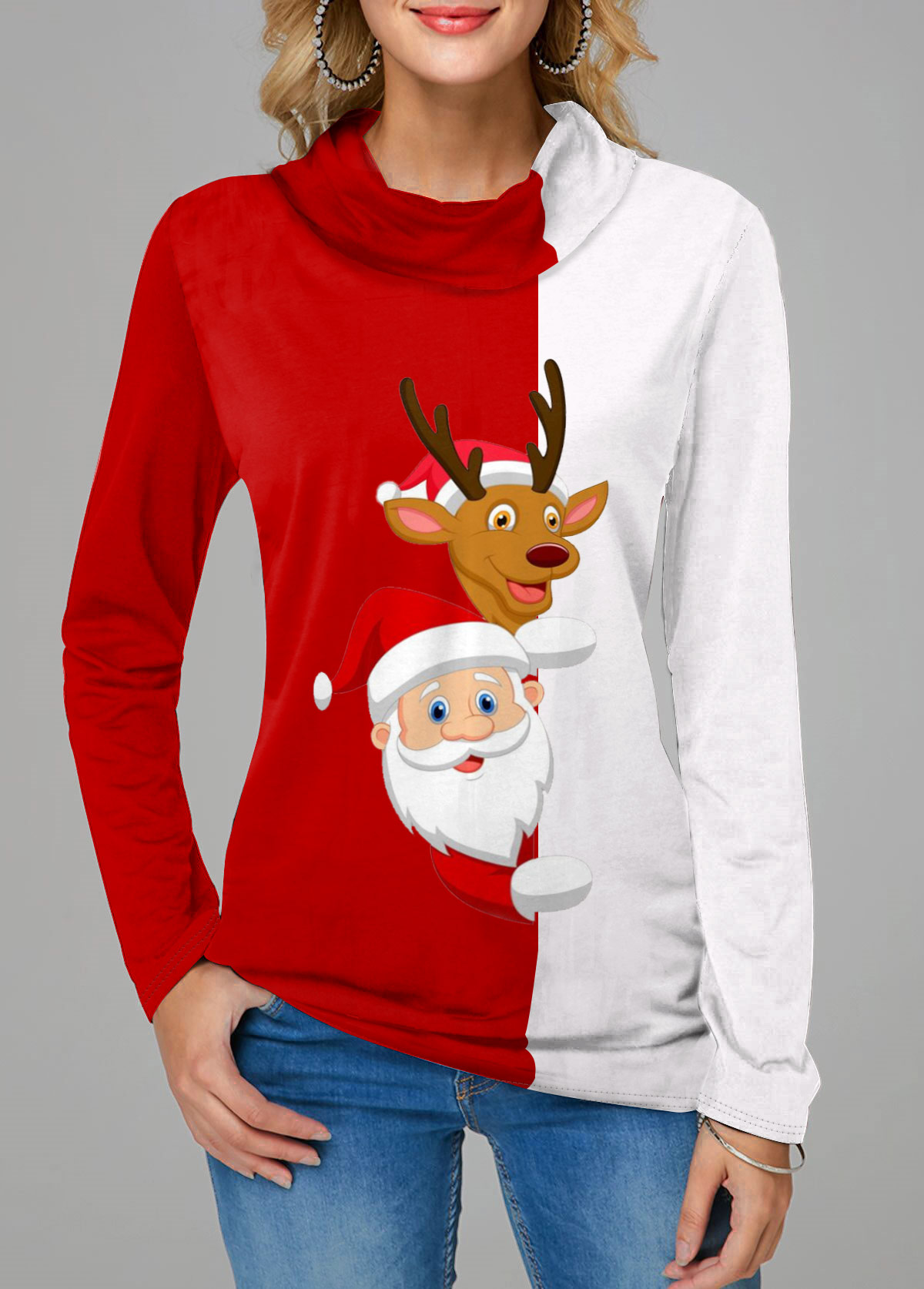 Contrast Panel Christmas Elk and Santa Claus Print T Shirt