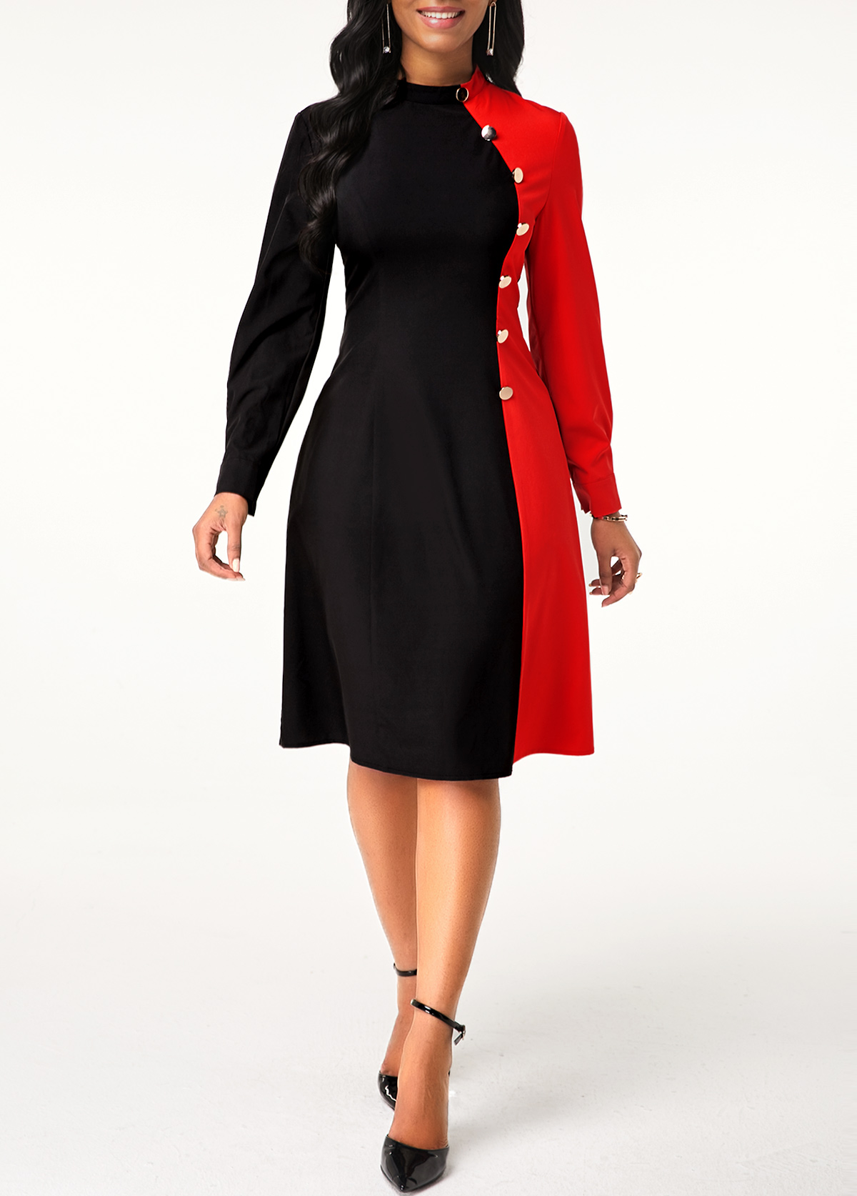 ROTITA Long Sleeve Button Detail Contrast Dress