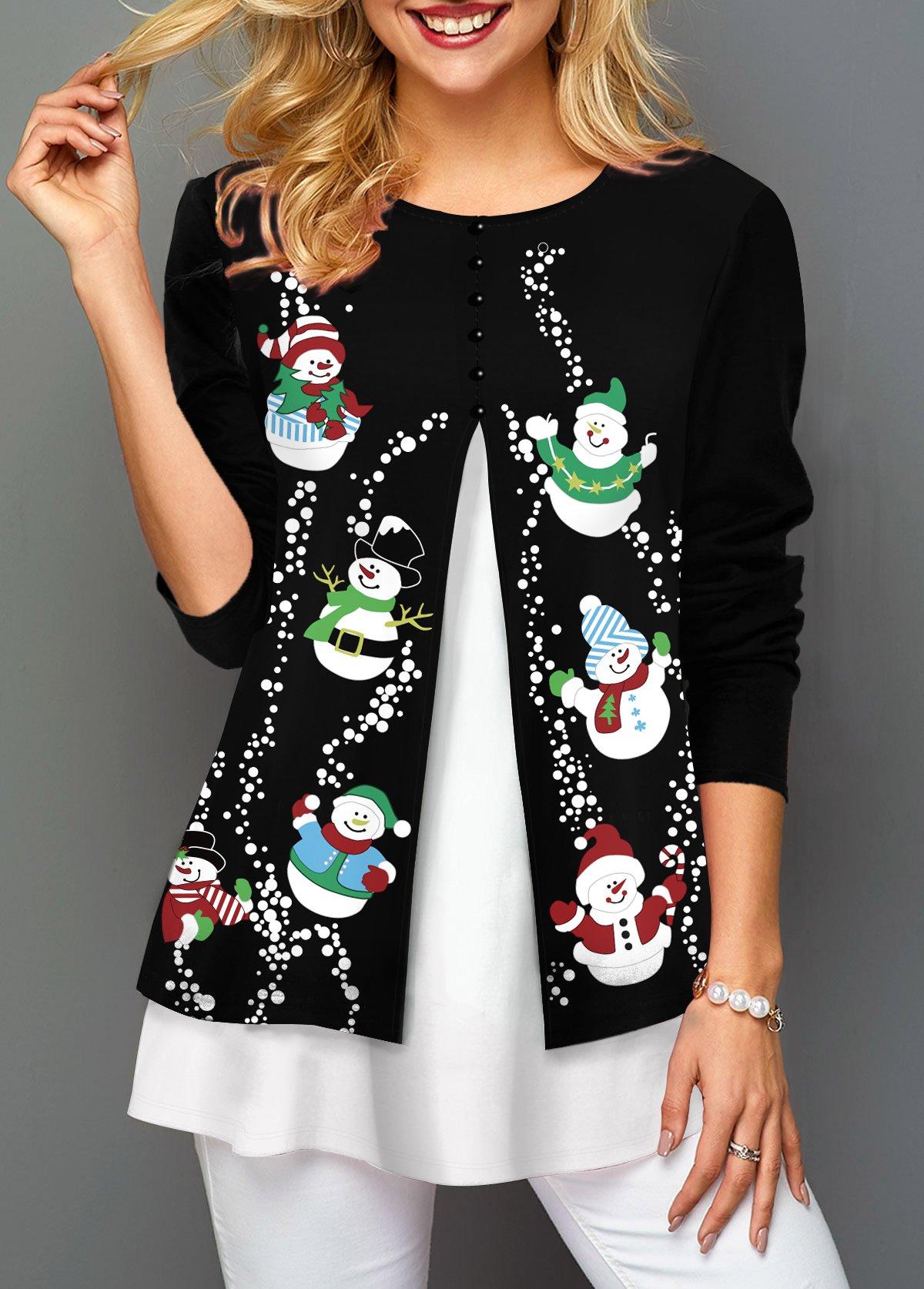 ROTITA Christmas Snowman Print Contrast Panel T Shirt
