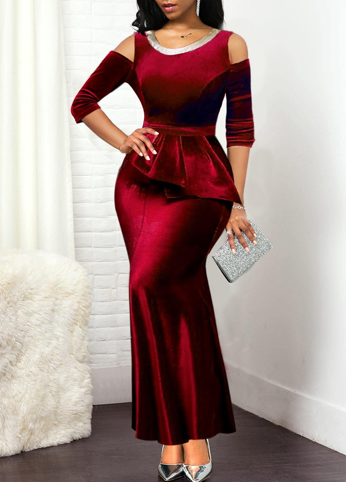 Red Cold Shoulder Round Neck Dress