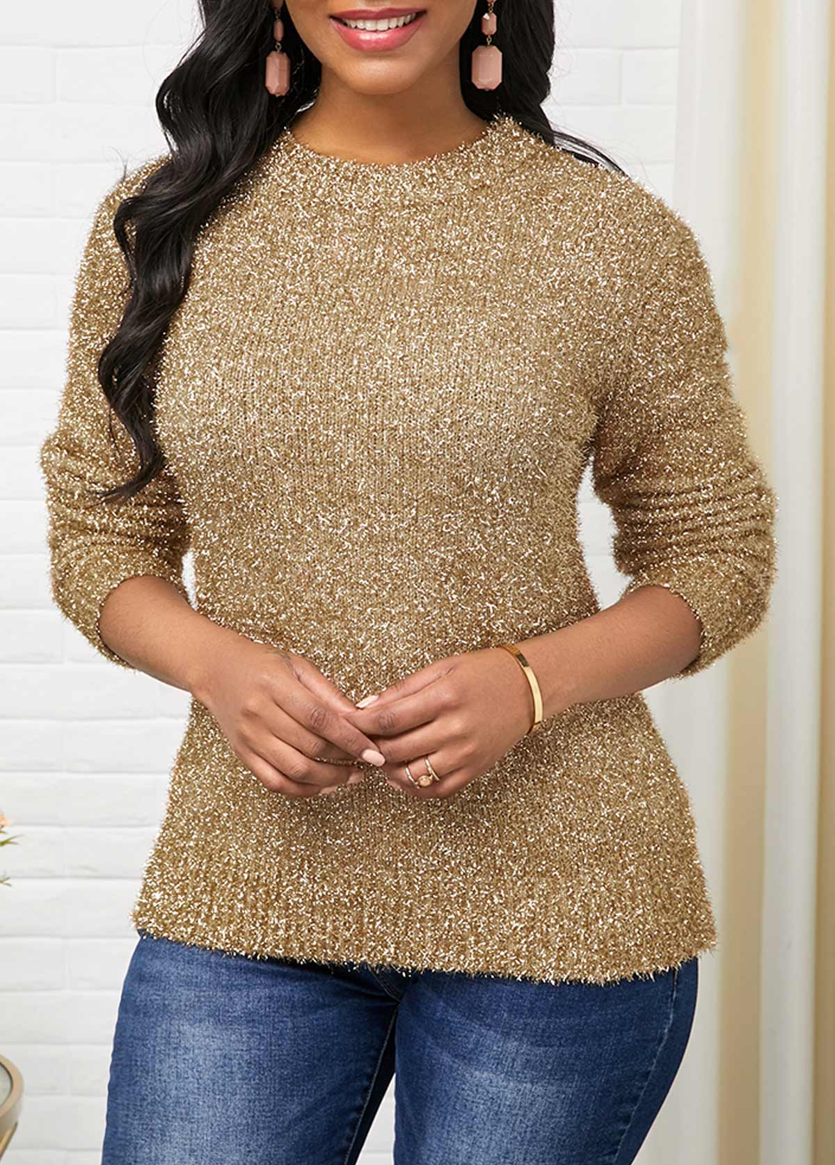 Long Sleeve Gold Round Neck Sweater