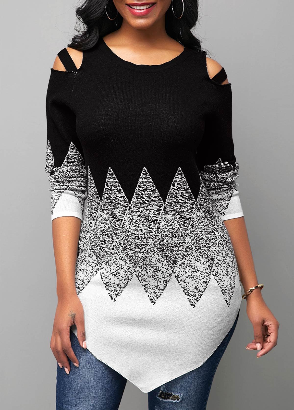 Round Neck Color Block Cold Shoulder Sweater