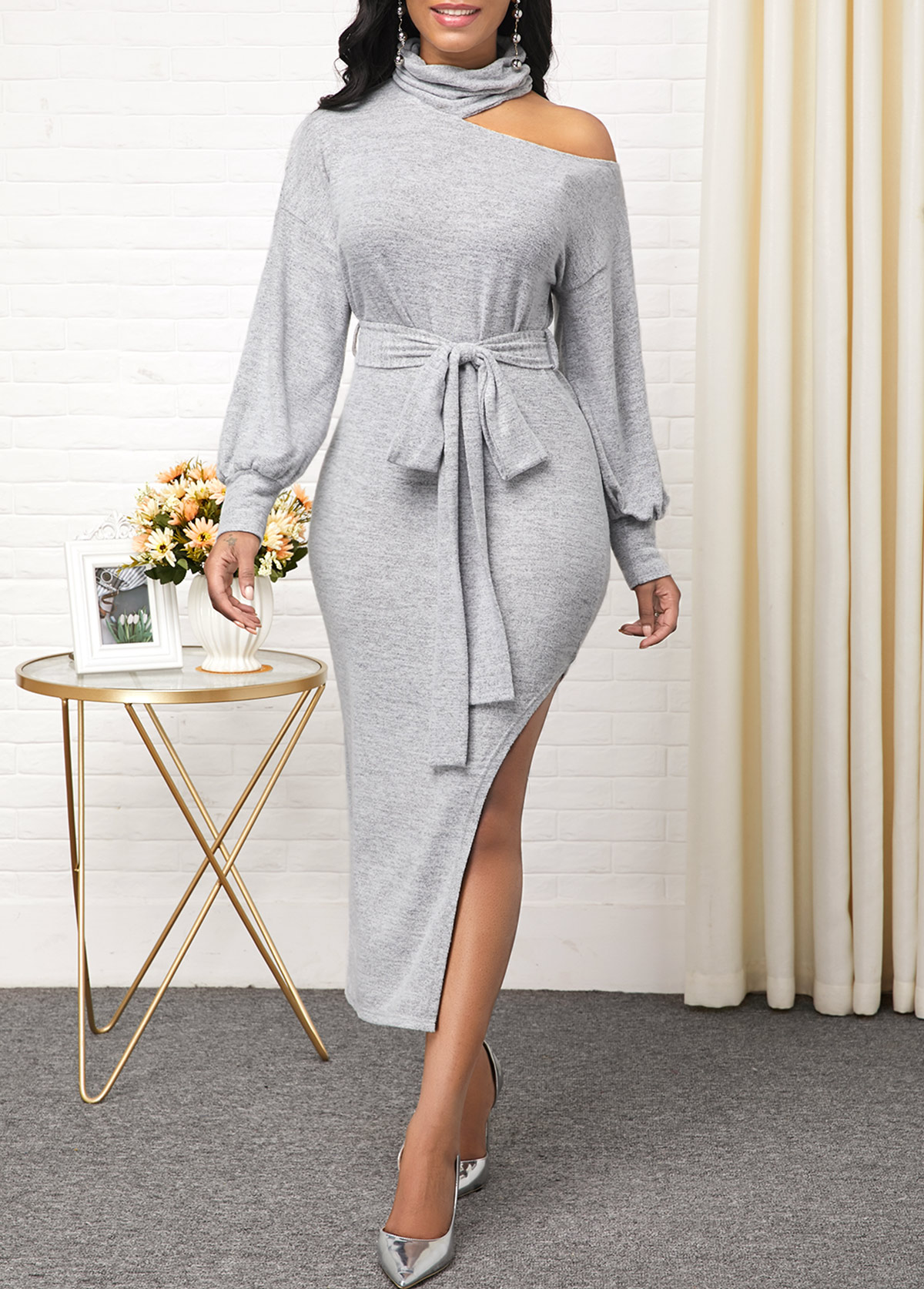 ROTITA Side Slit Light Grey Cold Shoulder Dress