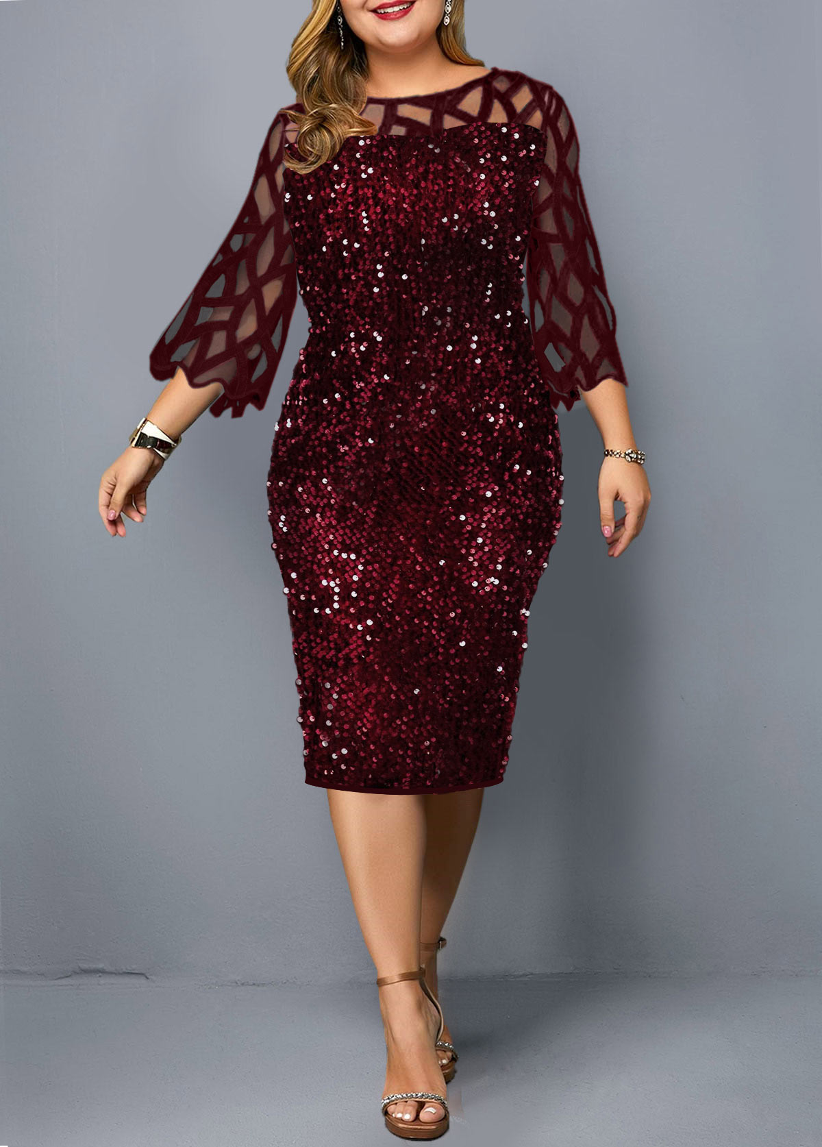 ROTITA Plus Size Three Quarter Sleeve Sequin Embellished Dress
