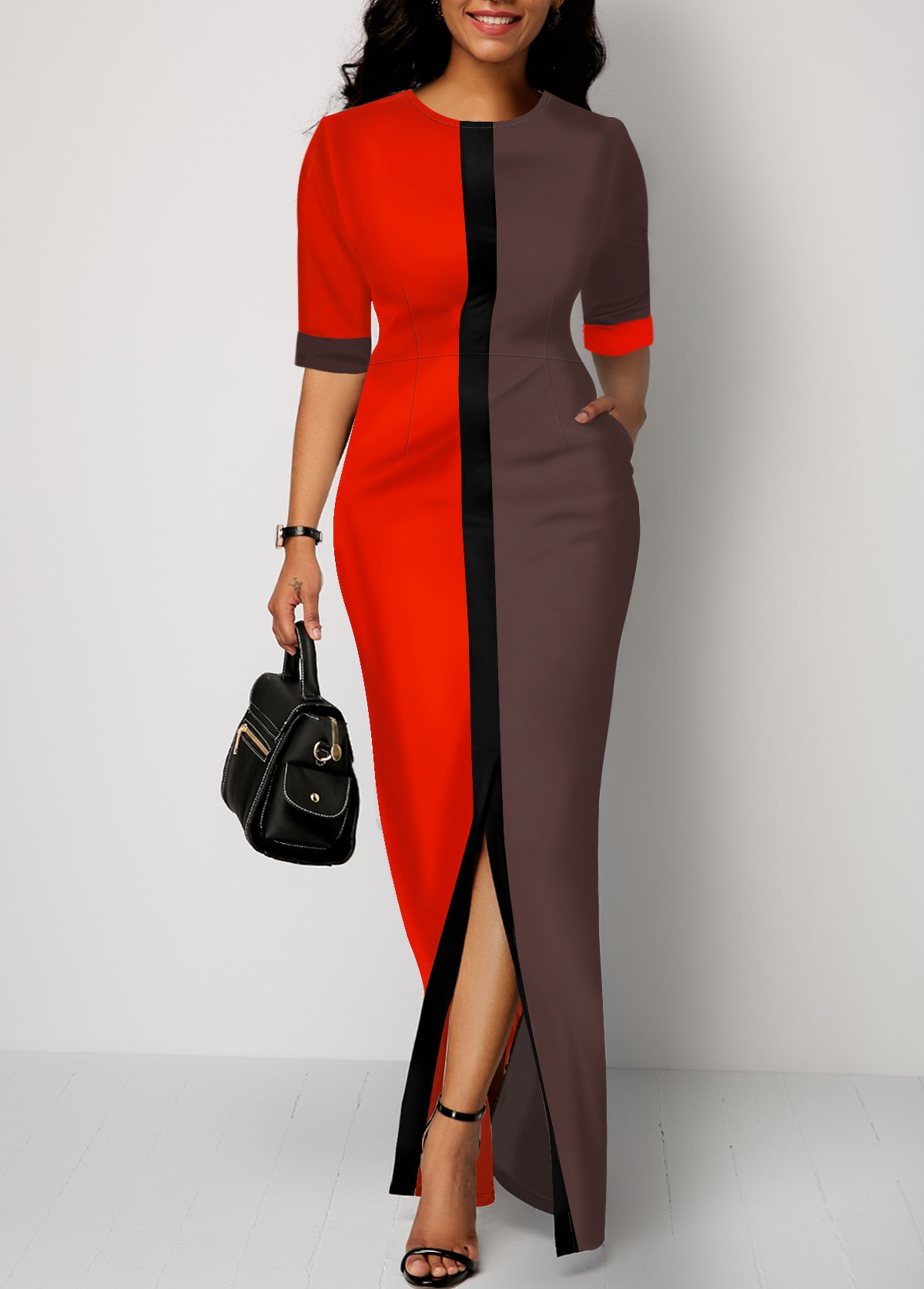 Half Sleeve Slit Front Color Block Dress
