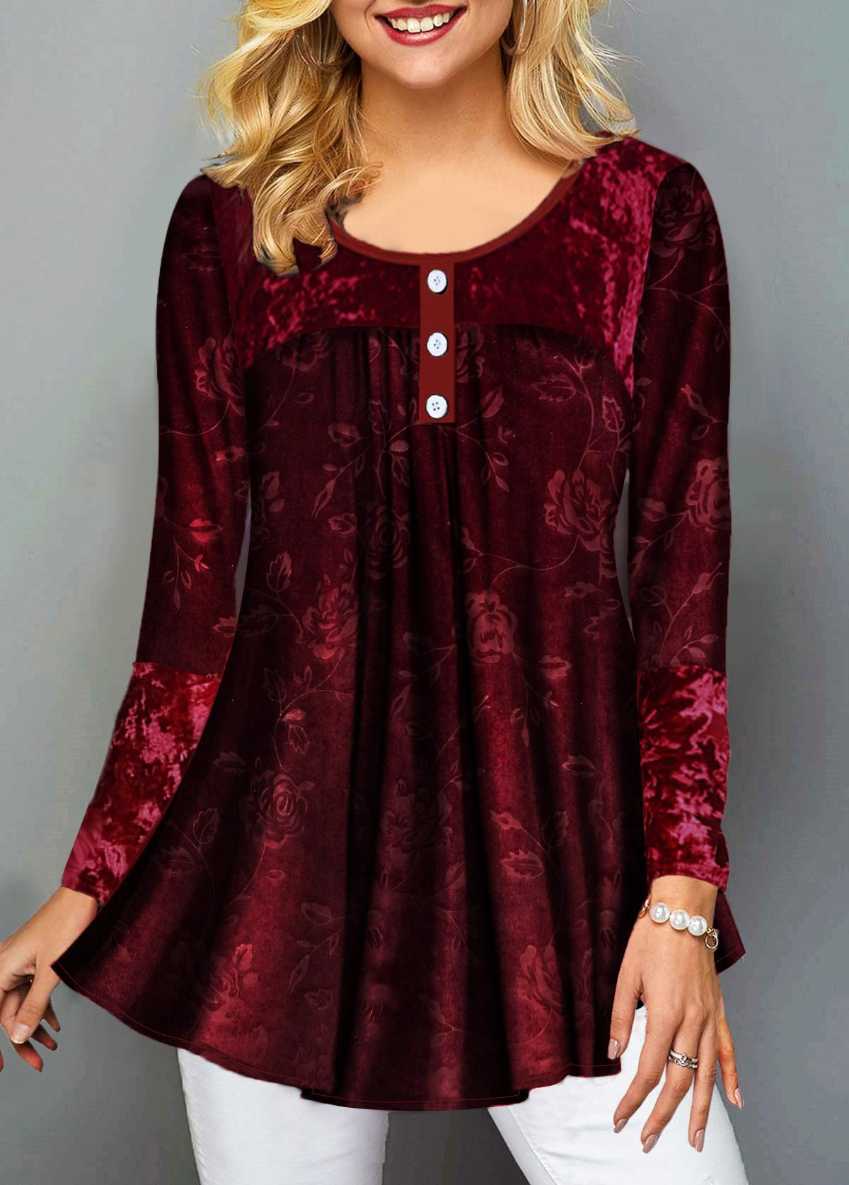 Button Front Sequin Embellished Long Sleeve T Shirt