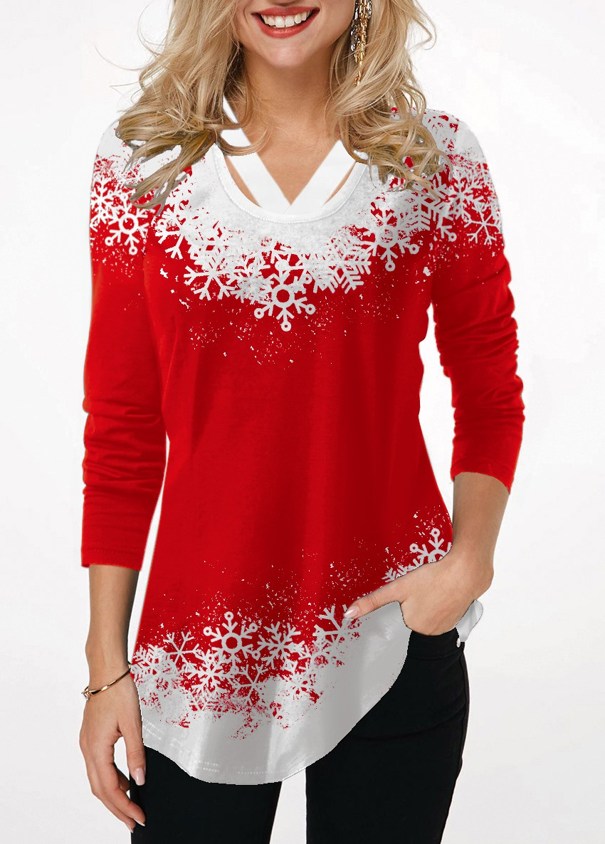 Long Sleeve Red Printed T Shirt