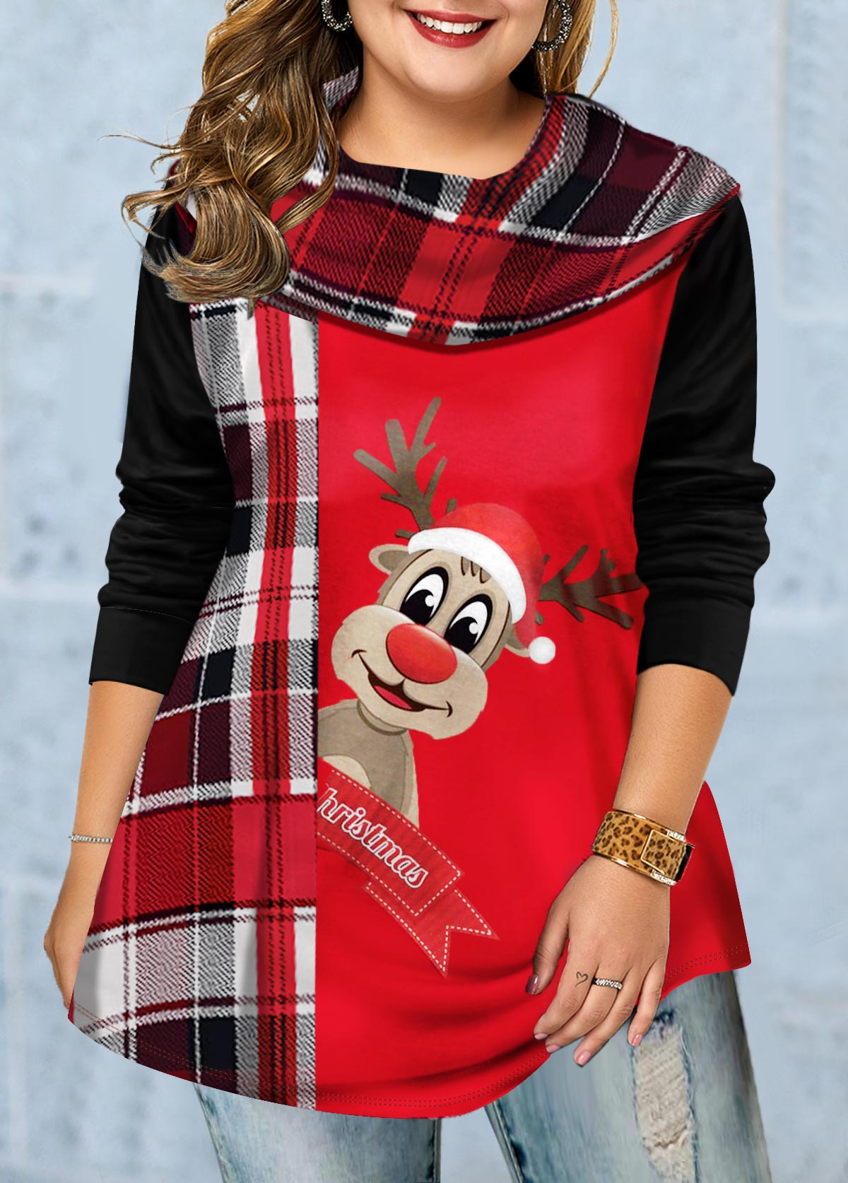 ROTITA Plus Size Long Sleeve Christmas Elk Print Tunic Top