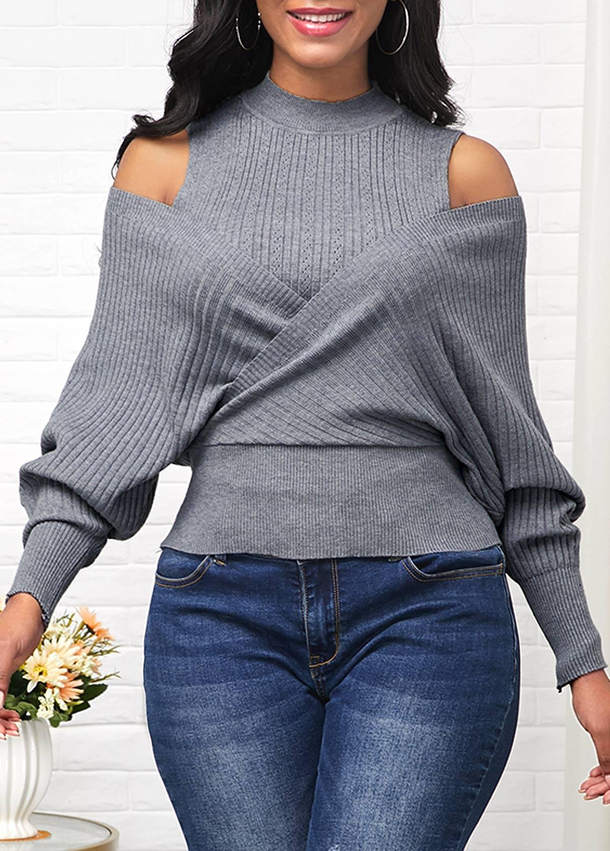 Long Sleeve Mock Neck Cold Shoulder Sweater