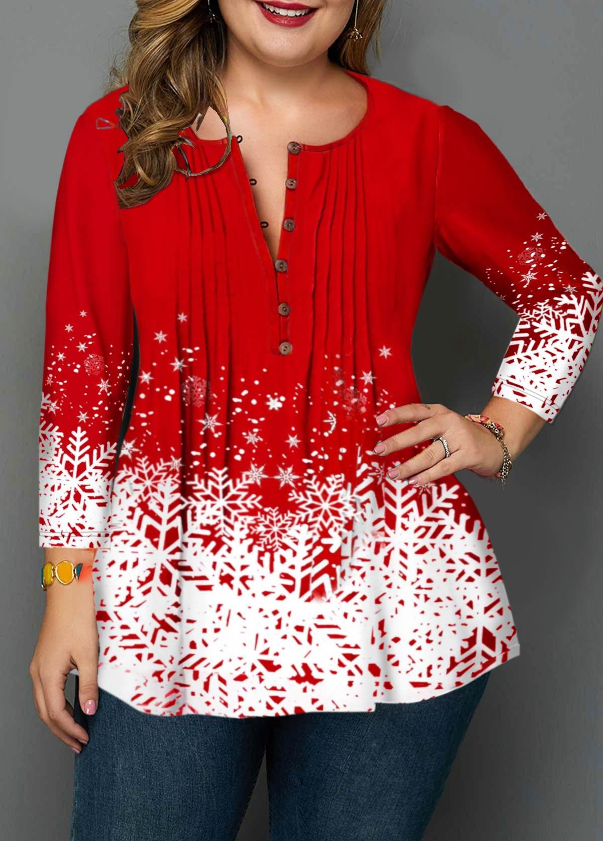 Plus Size Crinkle Chest Christmas Snowflake Print Blouse