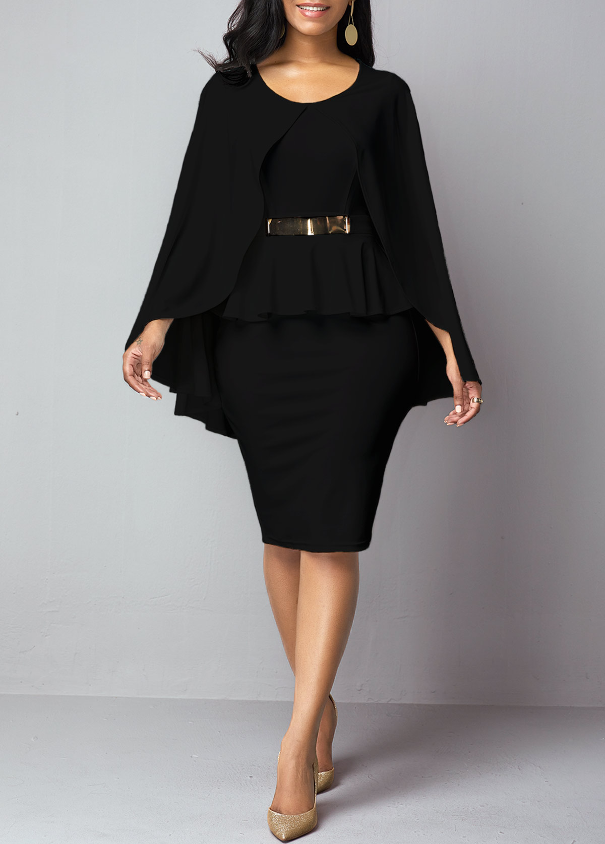 Black Faux Two Piece Poncho Dress