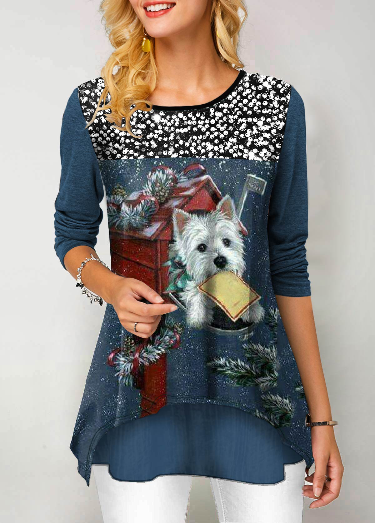 ROTITA Sequin Panel Dog Print Long Sleeve T Shirt